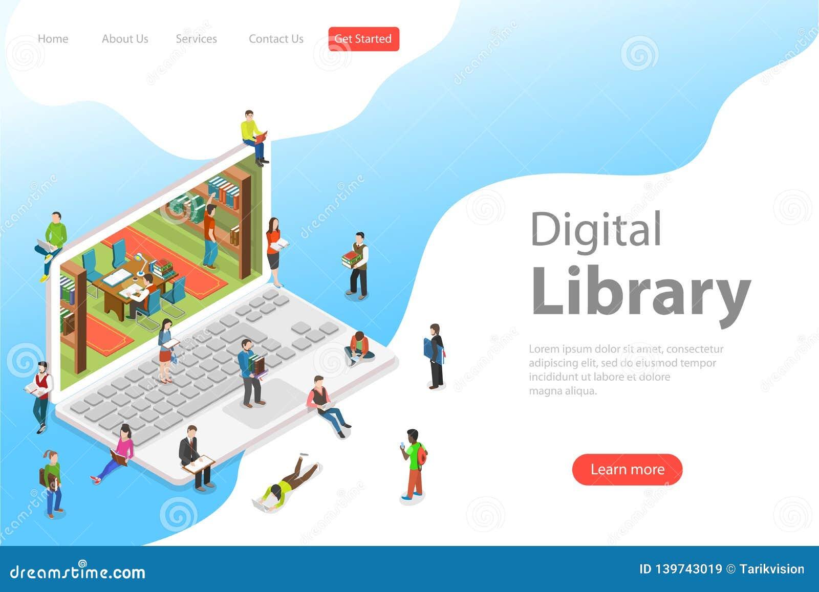 Равновеликий плоский шаблон онлайн библиотеки, образование страницы посадки вектора