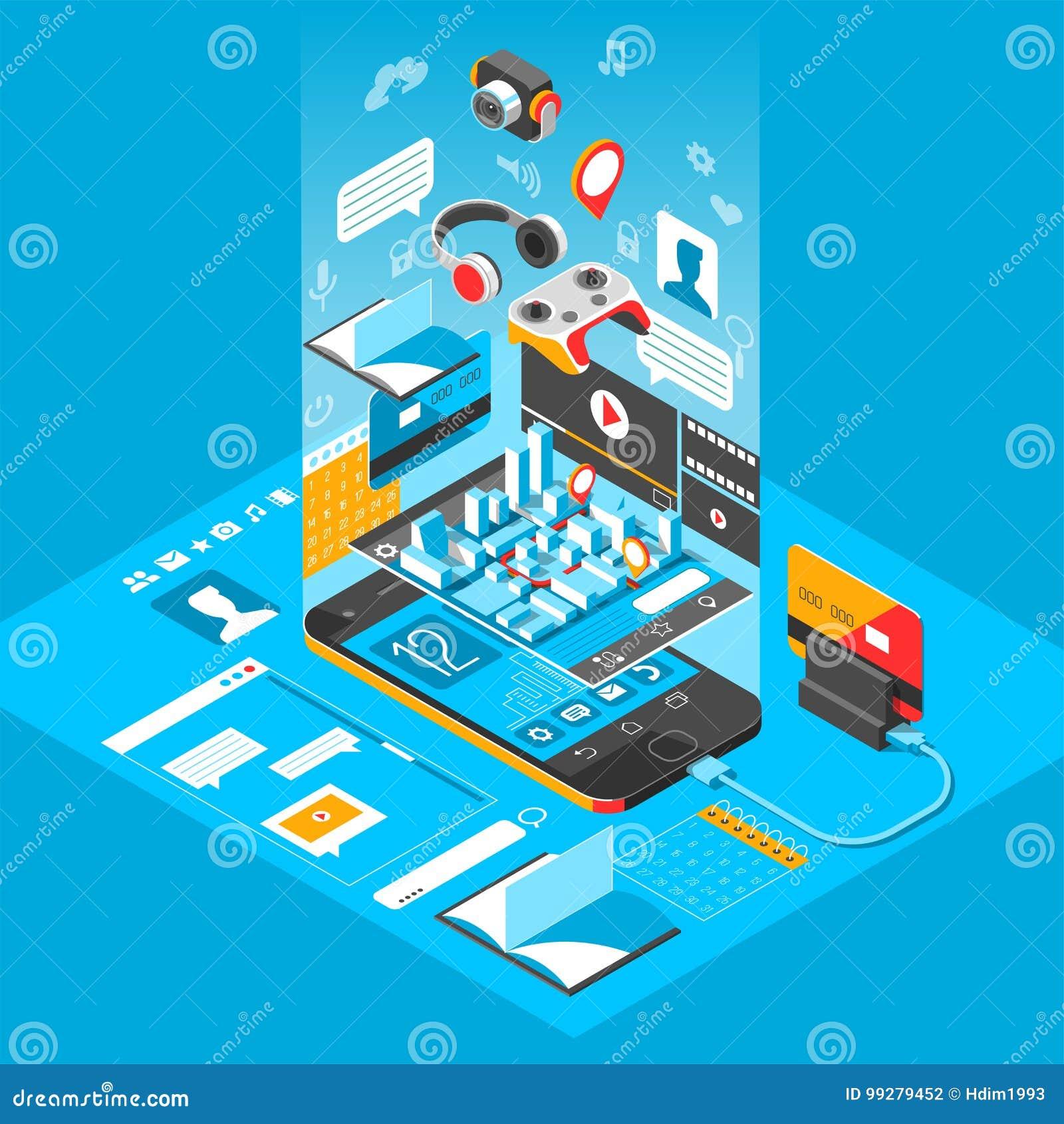 Равновеликий умный интерфейс телефона Экран с различными apps и значками вектор иллюстрации 3d