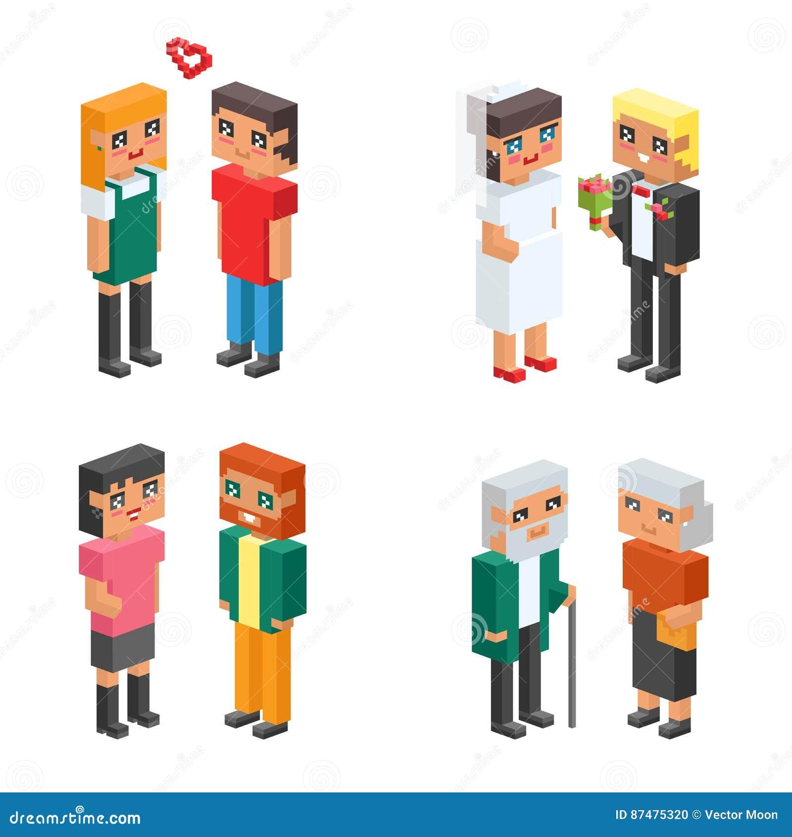 равновеликие дети пар семьи 3d ягнятся люди плоские значки flirting воспитание свадьбы даты влюбленности первое совместно vector