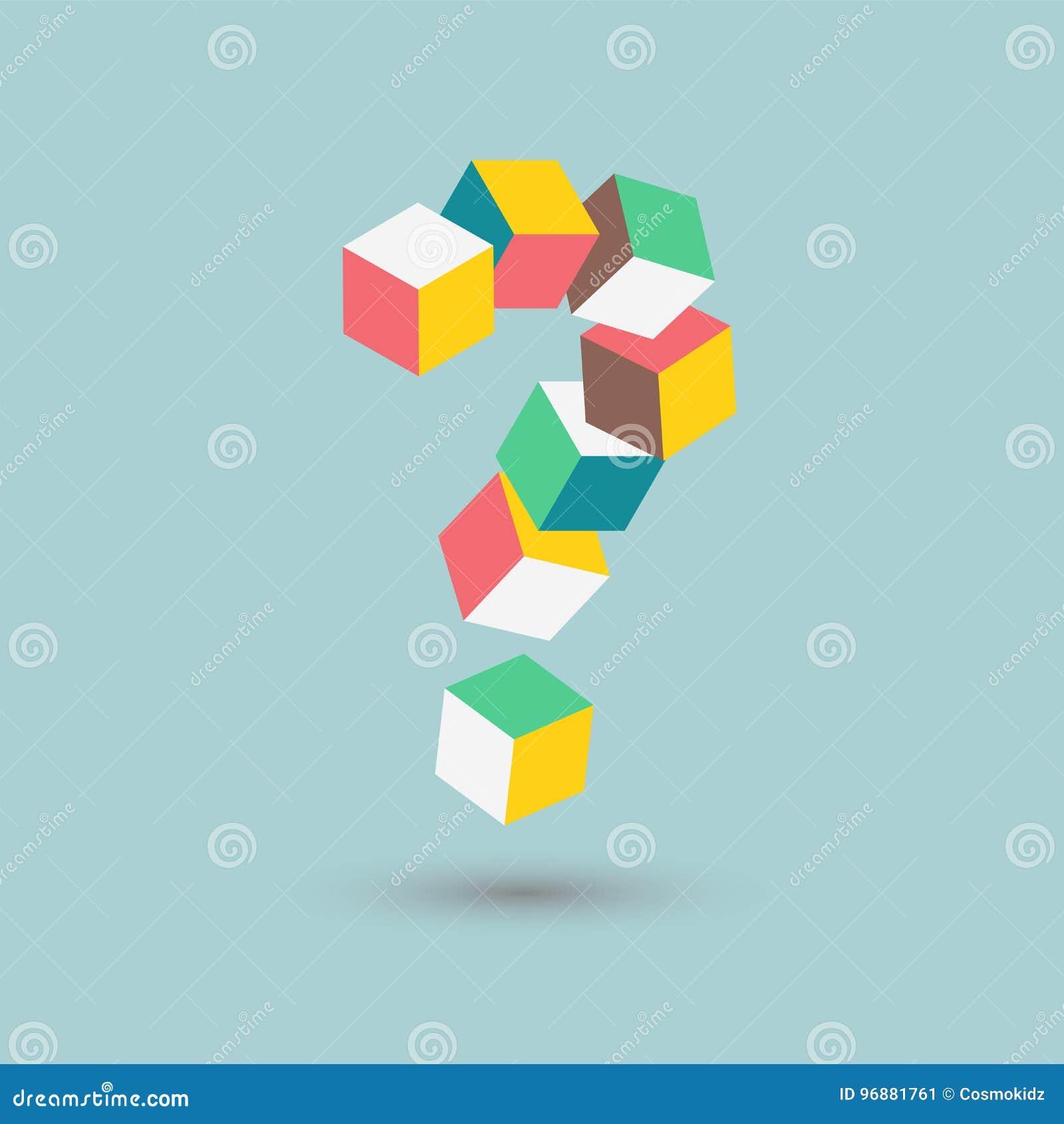 Равновеликие сомнения, трудная головоломка, кубы вопросительного знака формируют, vector иллюстрацию