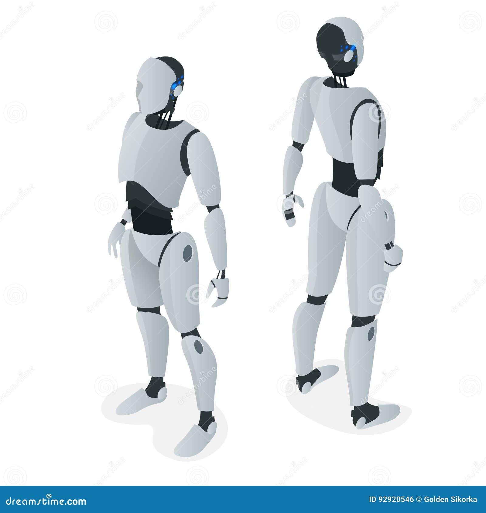Равновеликий автономный робот Плоский вектор изолированный на белой иллюстрации искусственный интеллект