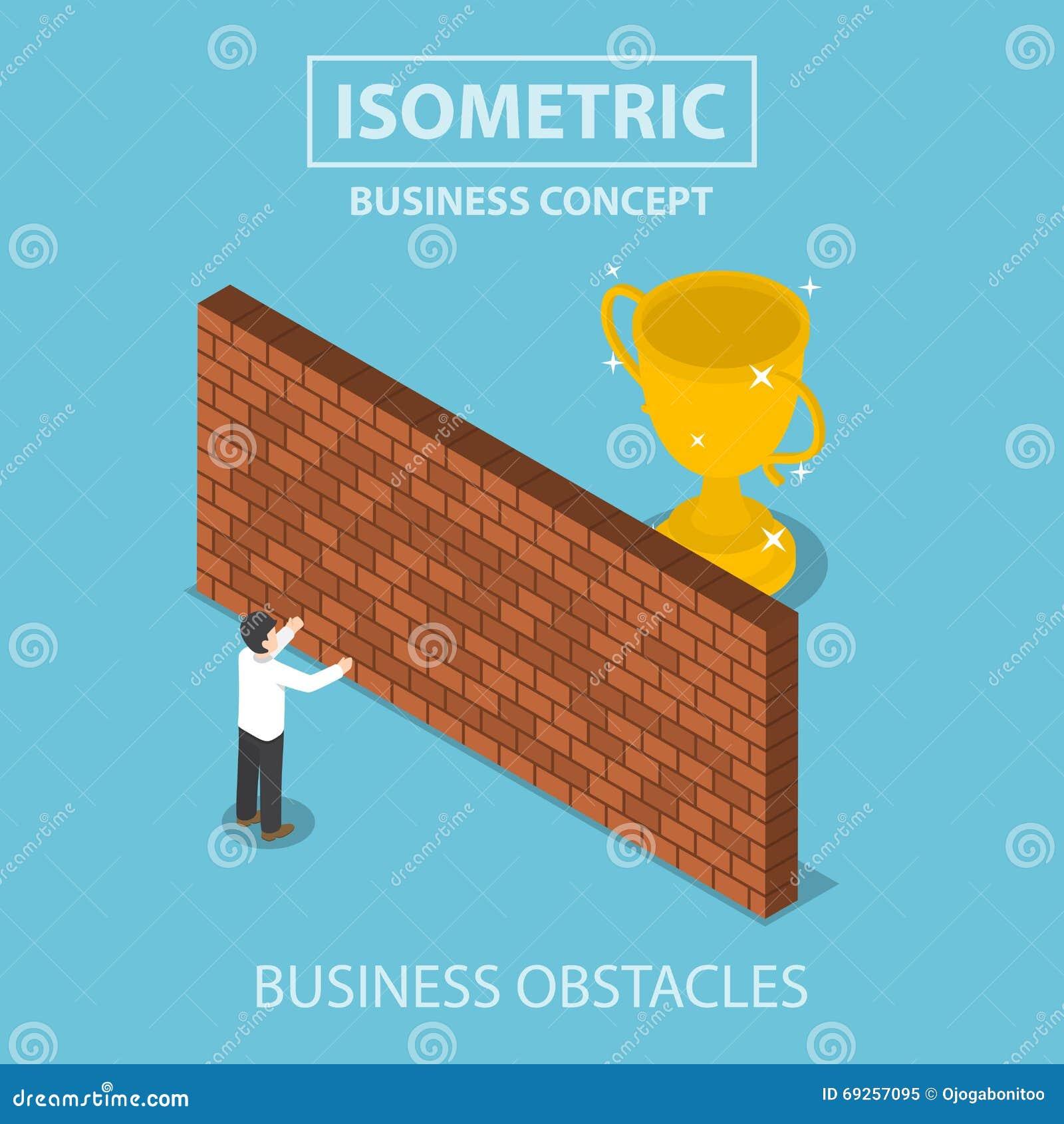 Равновеликий бизнесмен стоя перед кирпичной стеной с troph