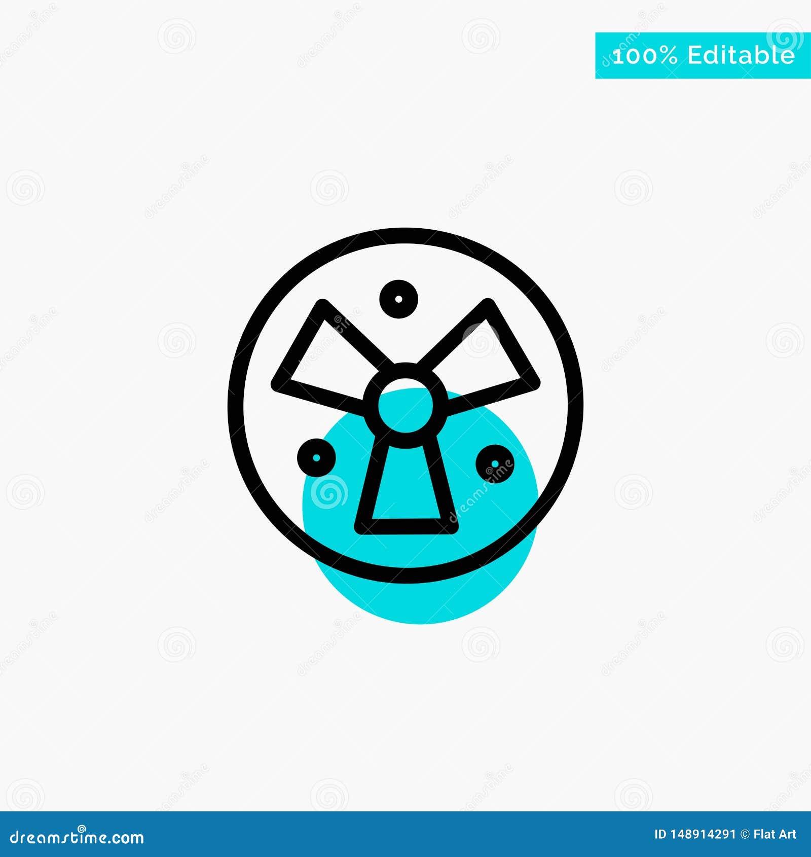 Радиация, предупреждение, медицинское, значок вектора пункта круга самого интересного бирюзы вентилятора