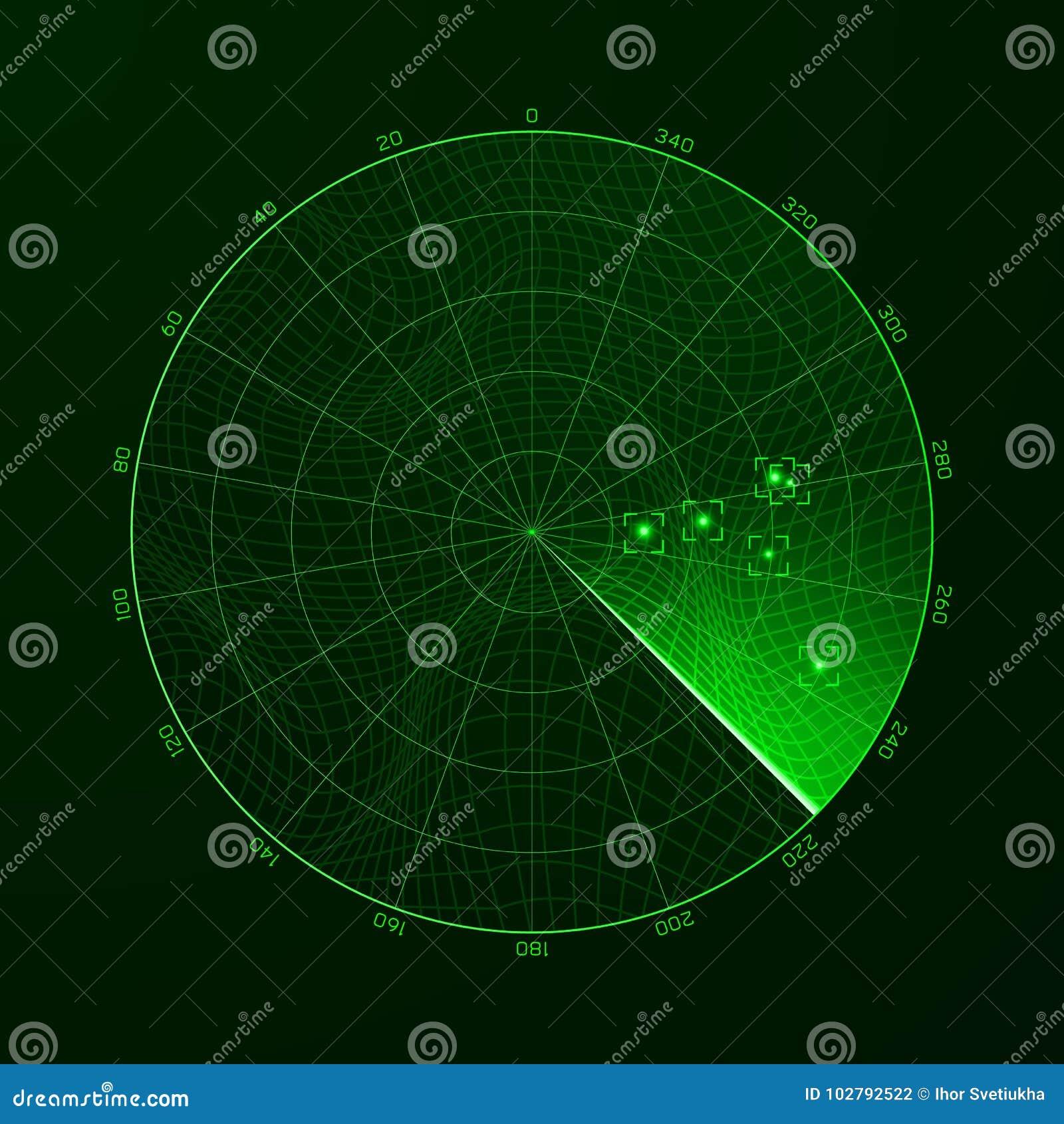 радиолокатор _ Обнаружение объектов на радиолокаторе также вектор иллюстрации притяжки corel