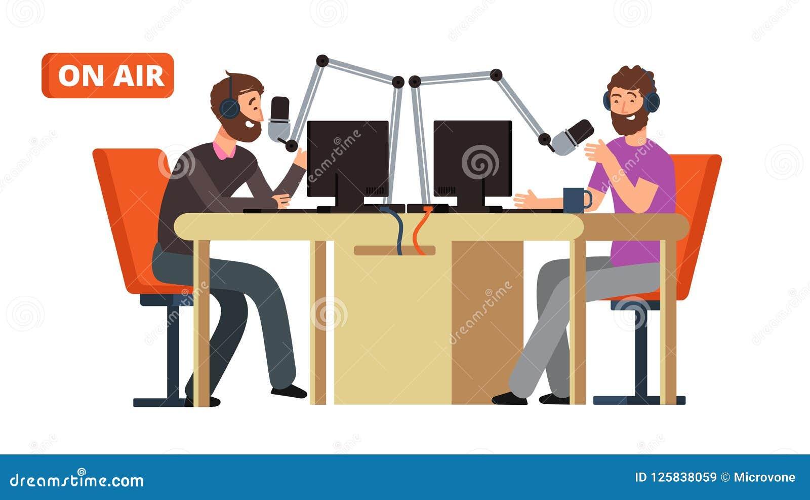 Радиопостановка Радио широковещания dj разговаривая с микрофонами на воздухе Концепция вектора