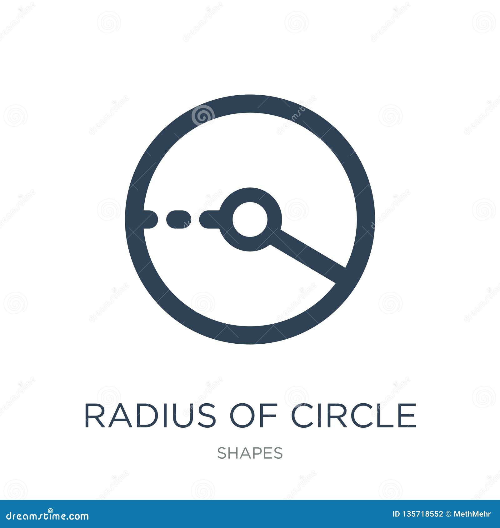 радиус значка круга в ультрамодном стиле дизайна радиус значка круга изолированный на белой предпосылке радиус значка вектора кру