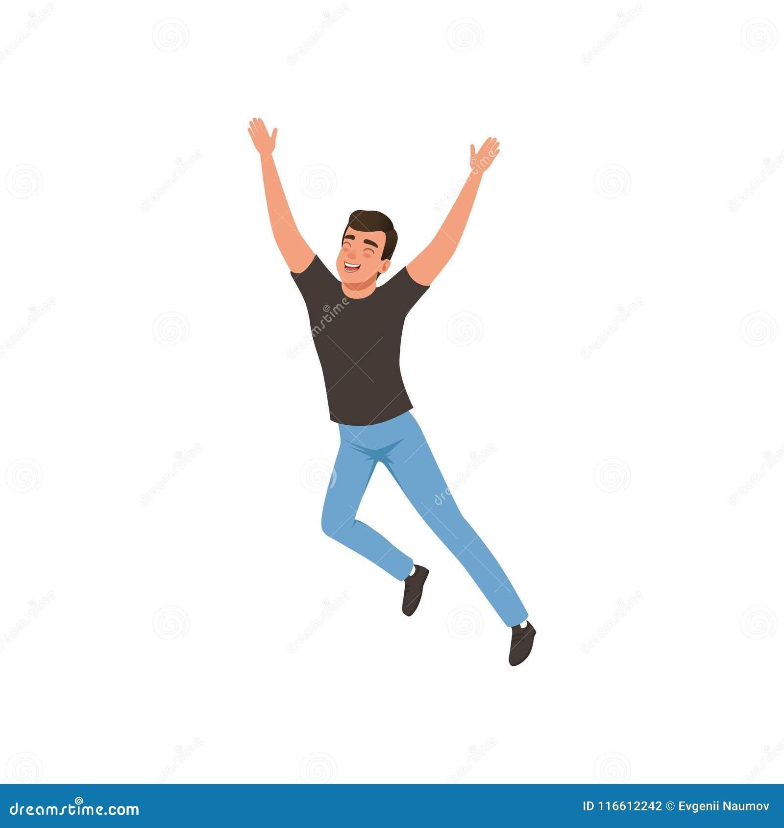 Радостный парень в скача действии с руками вверх Молодой человек с счастливым выражением стороны Плоский дизайн вектора
