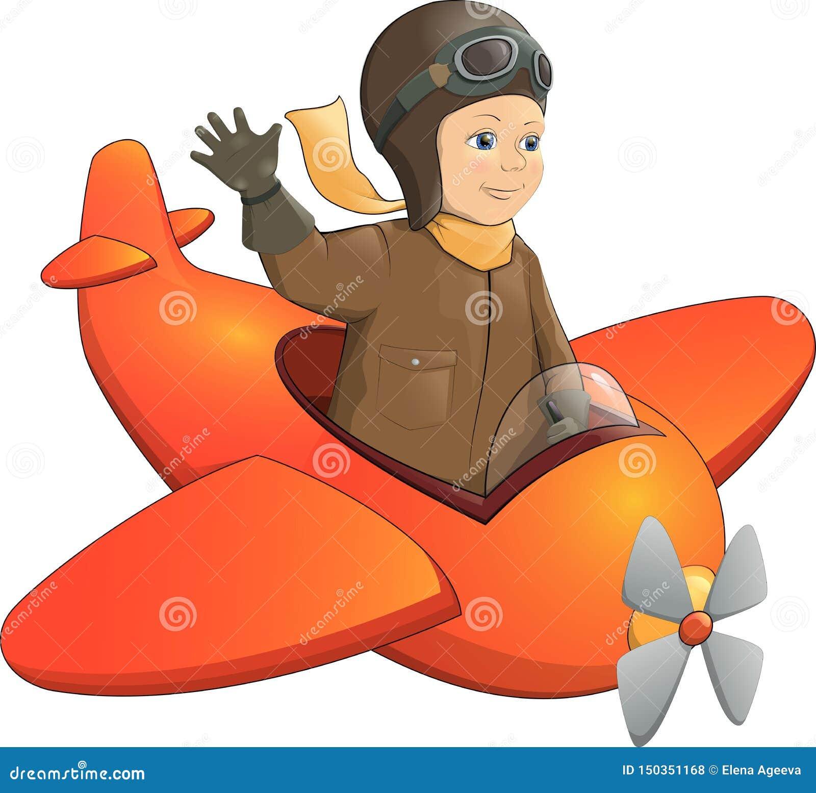 Радостный усмехаясь мальчик летая самолет игрушки