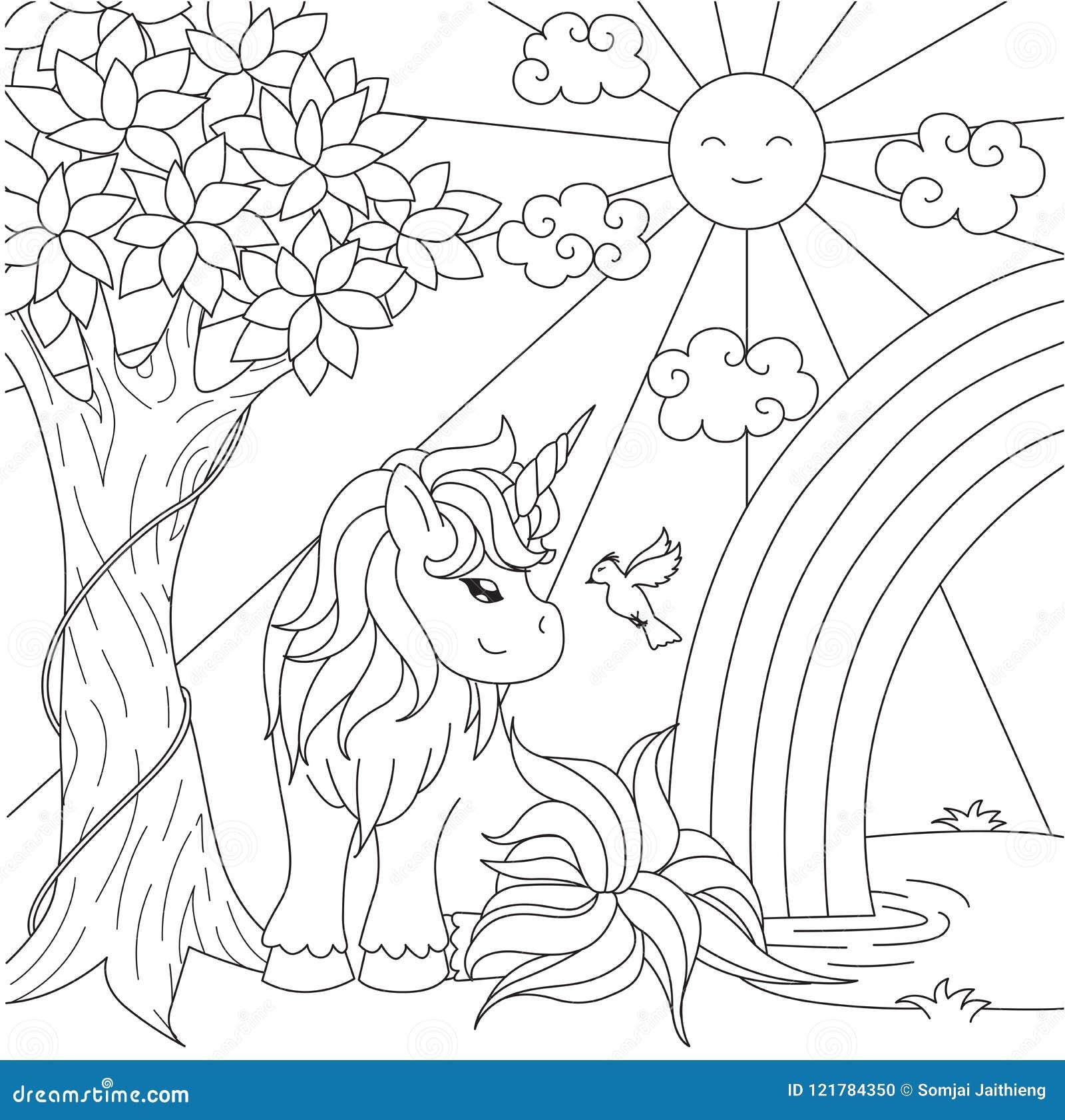 радуга милого единорога наблюдая на пруде для элемента