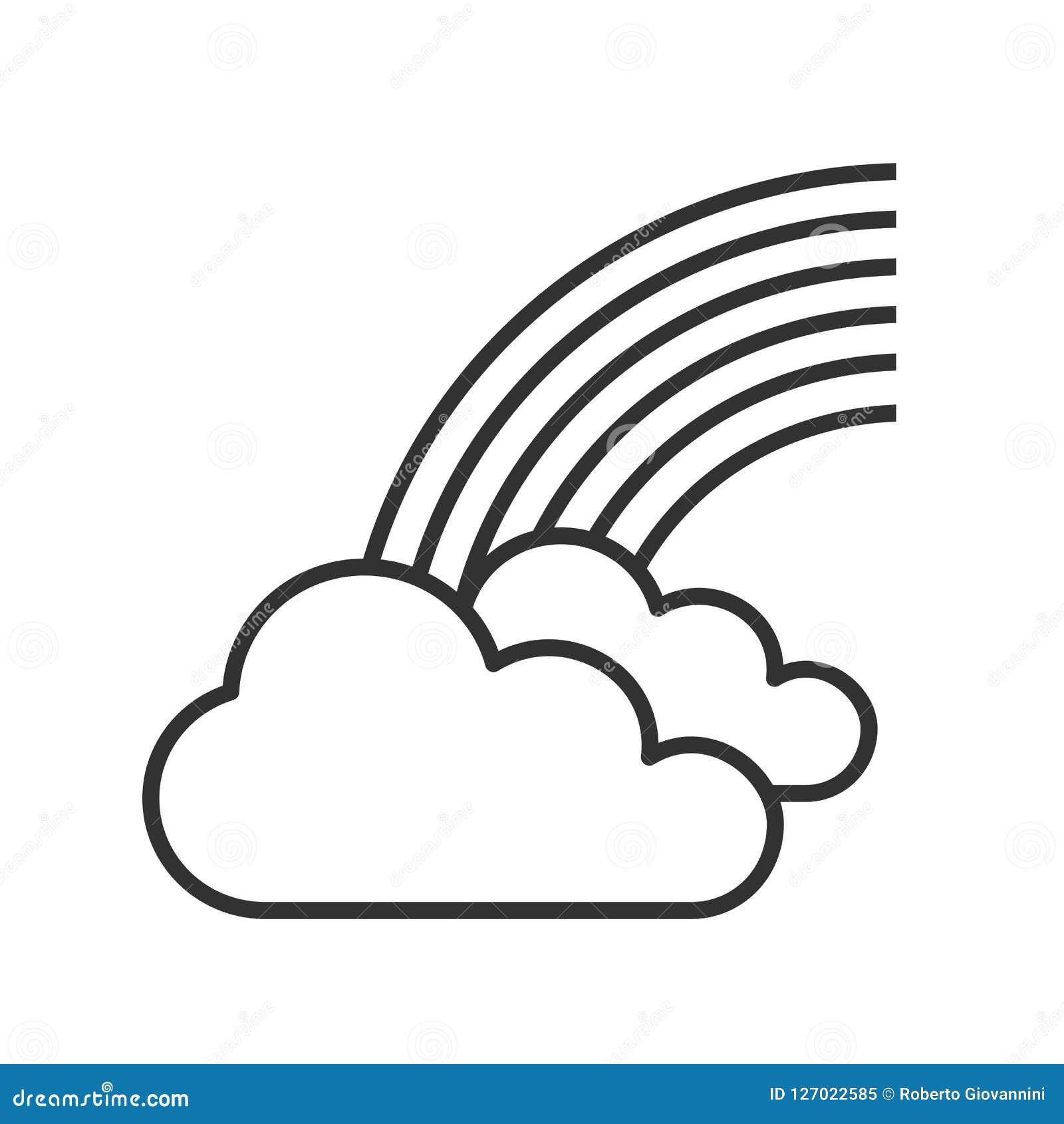 Радуга с значком плана облаков на белизне