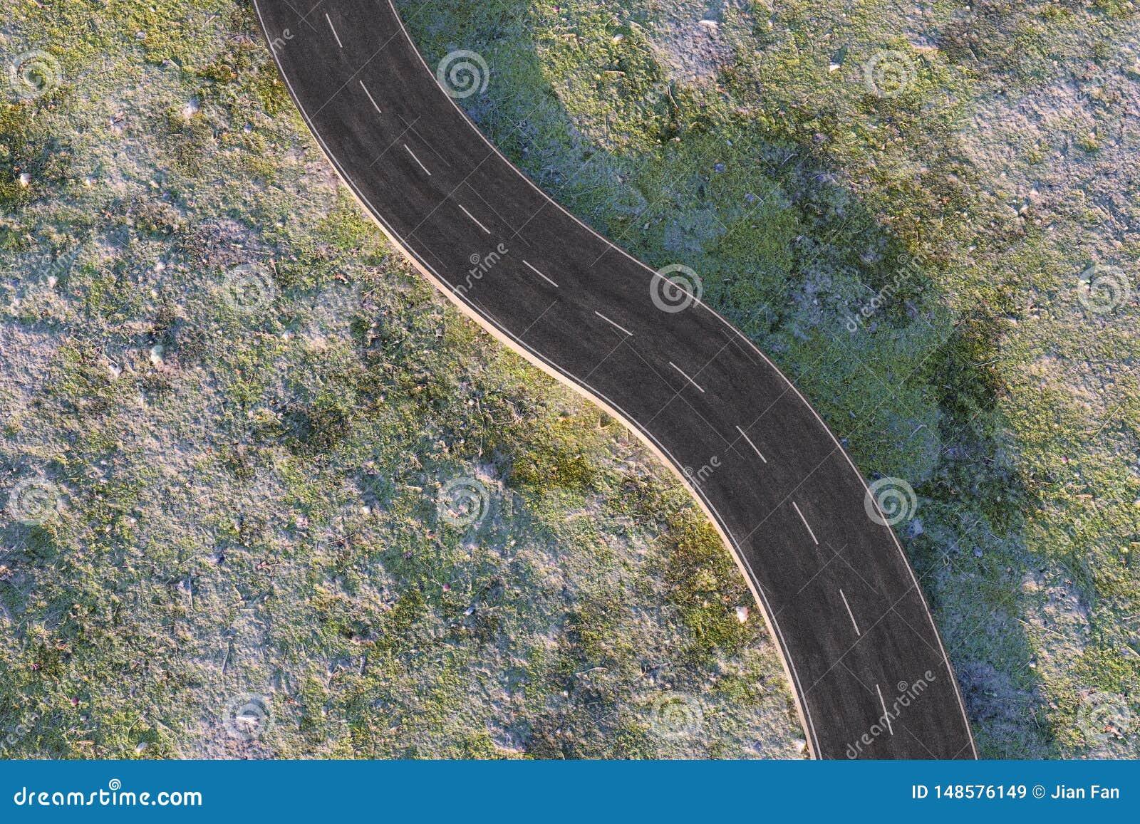Развевая дорога в дезертированных пригородах, перевод 3d