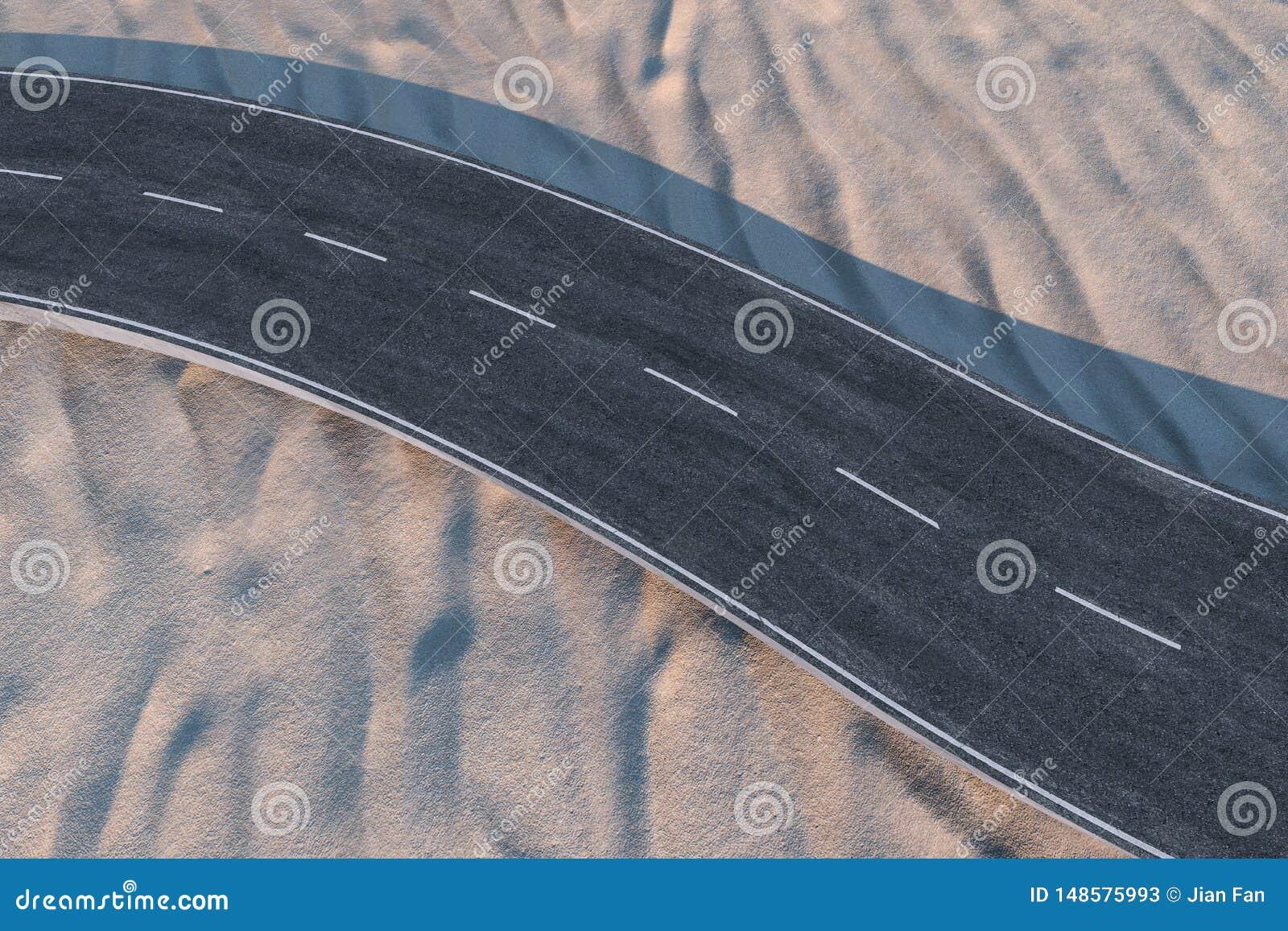 Развевая дорога в пустыне, переводе 3d
