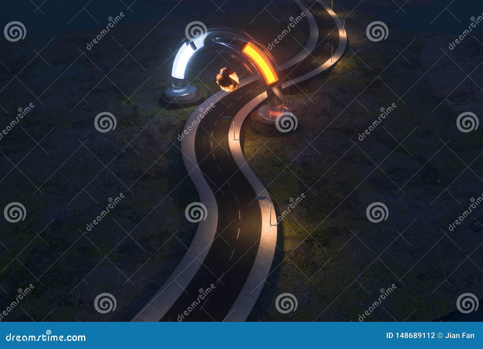 Развевая дорога и круглый волшебный вход, перевод 3d