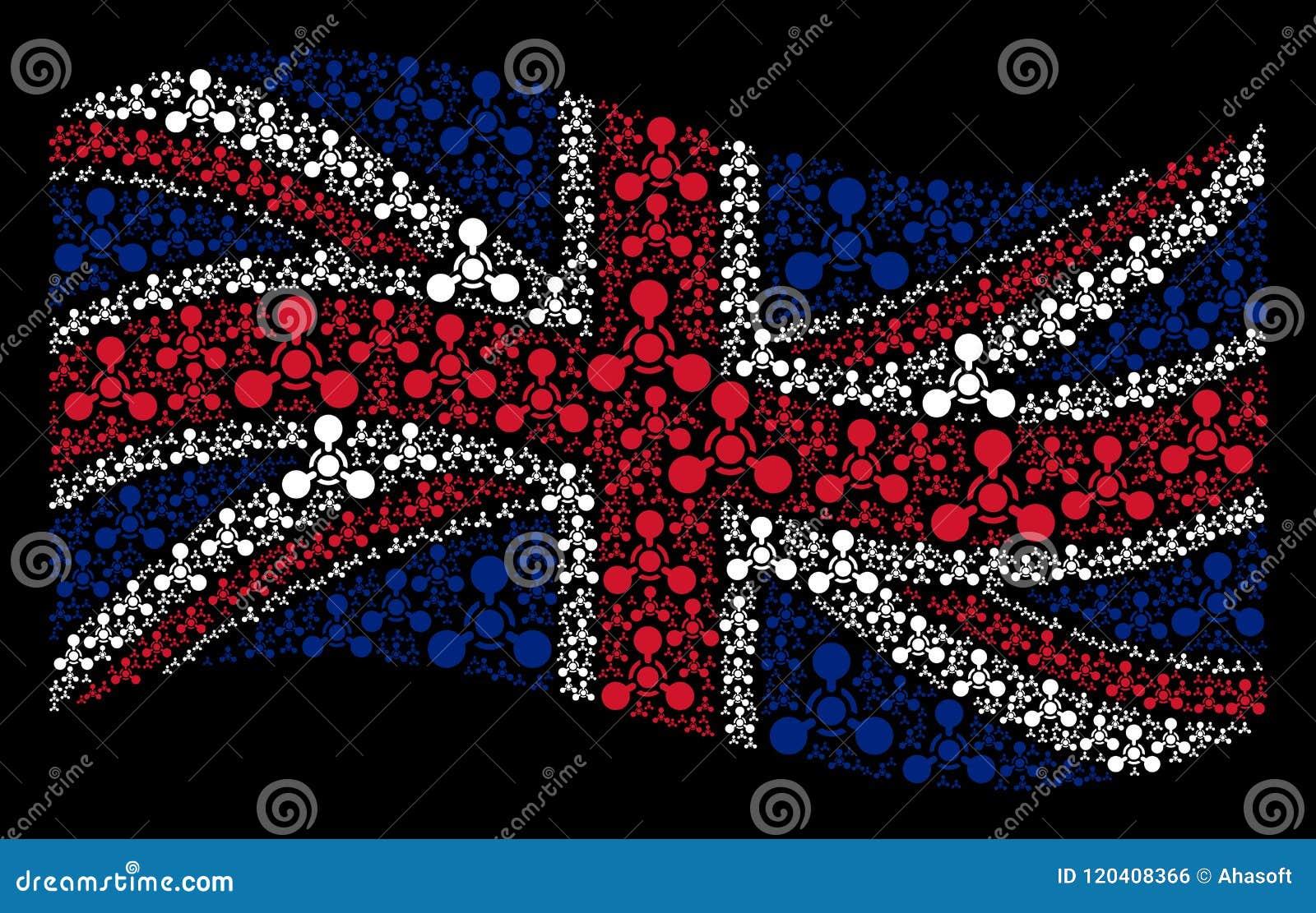Развевая картина флага Великобритании значков химической войны агента нервно-паралитического действия WMD
