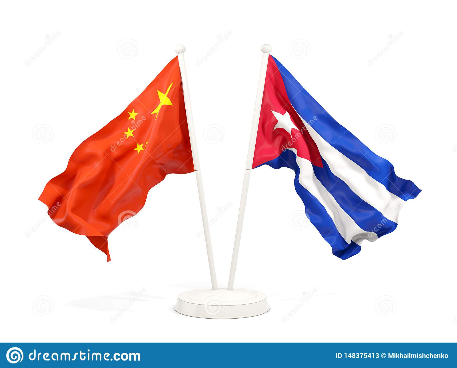 2 развевая флага Китая и Кубы изолированных на белизне