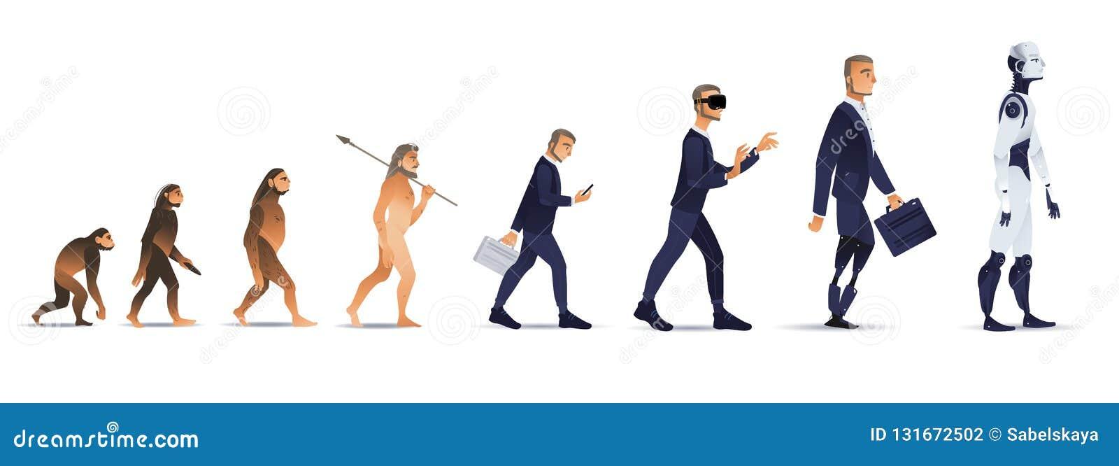 Развитие людей вектора от обезьяны к роботу