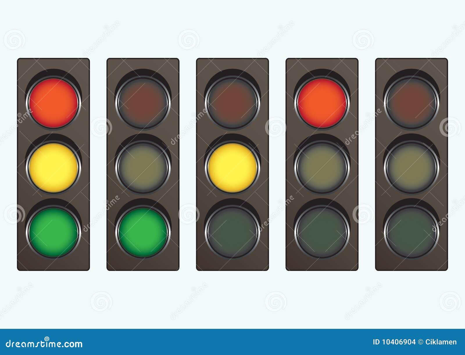 различное движение светлых сигналов