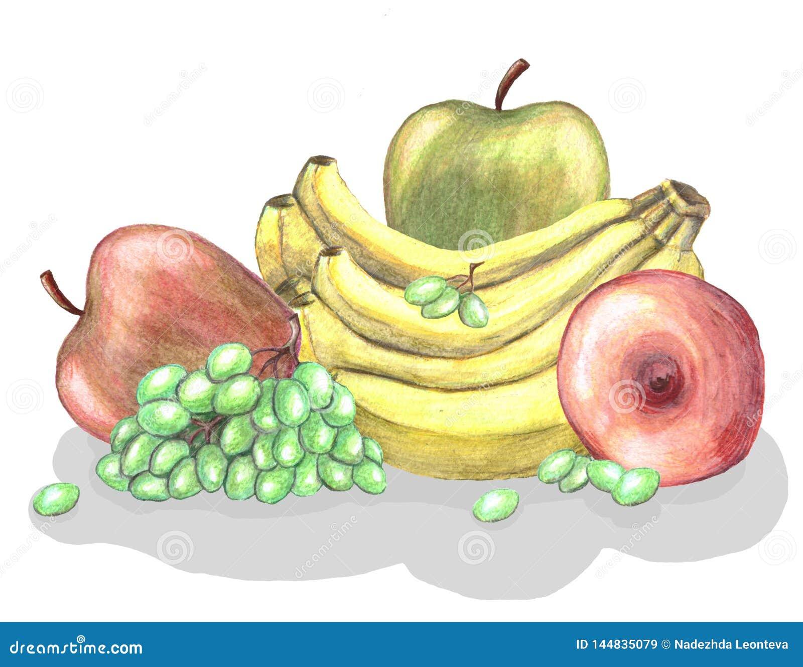 Различные плоды - банан, виноградина, яблоки