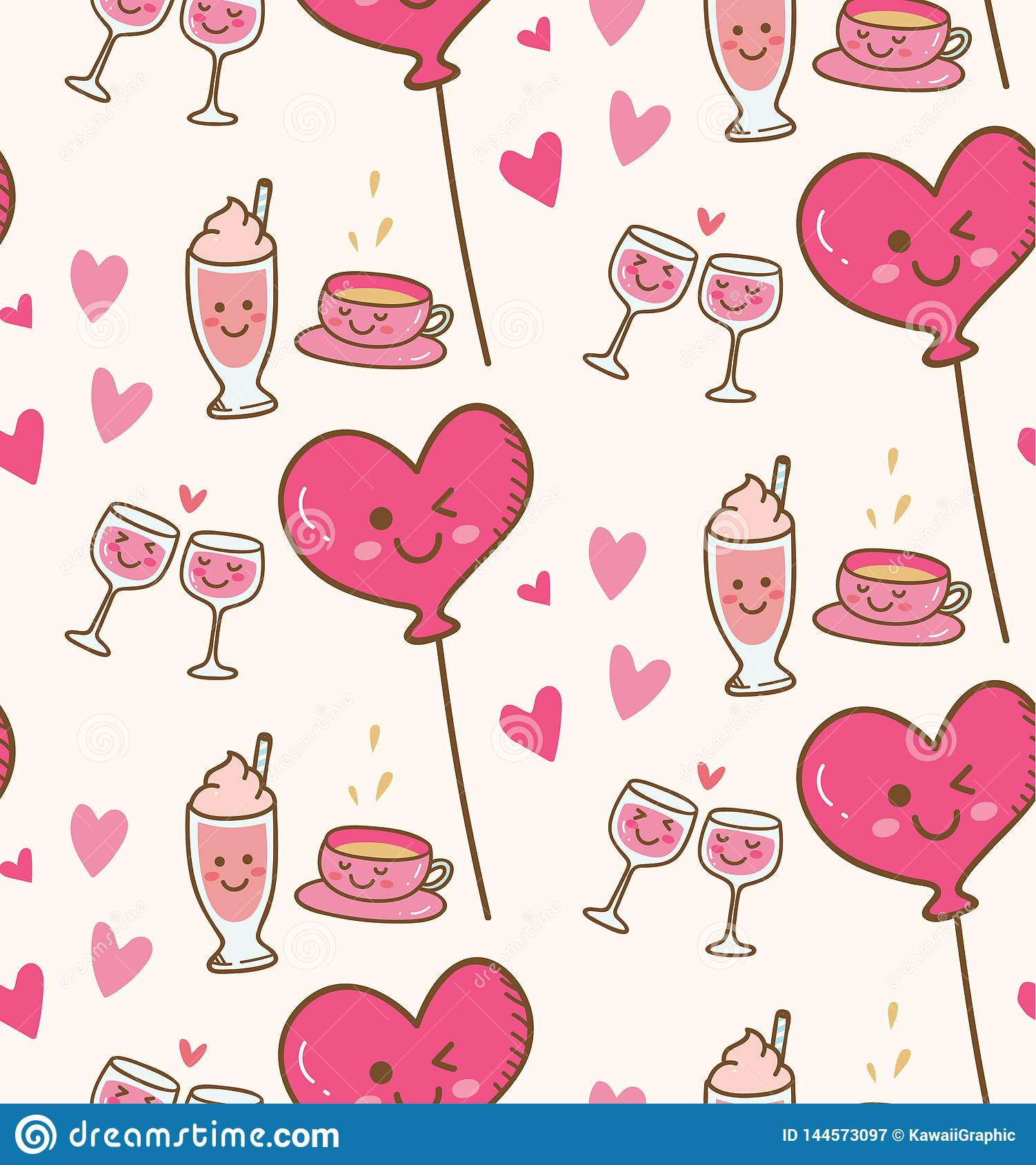 Различный напиток с розовым воздушным шаром сердца в предпосылке kawaii