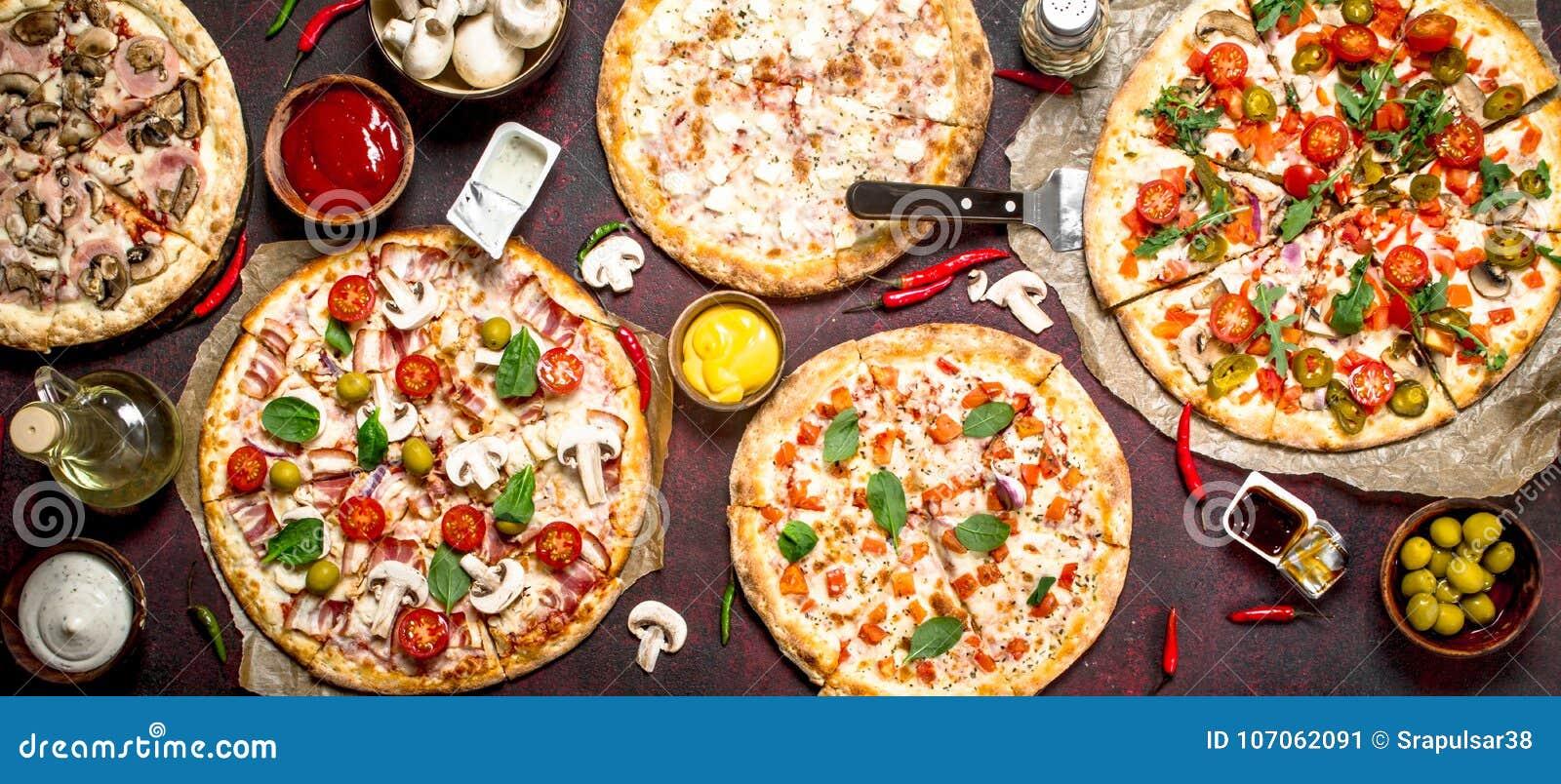 разнообразие пицц с соусами