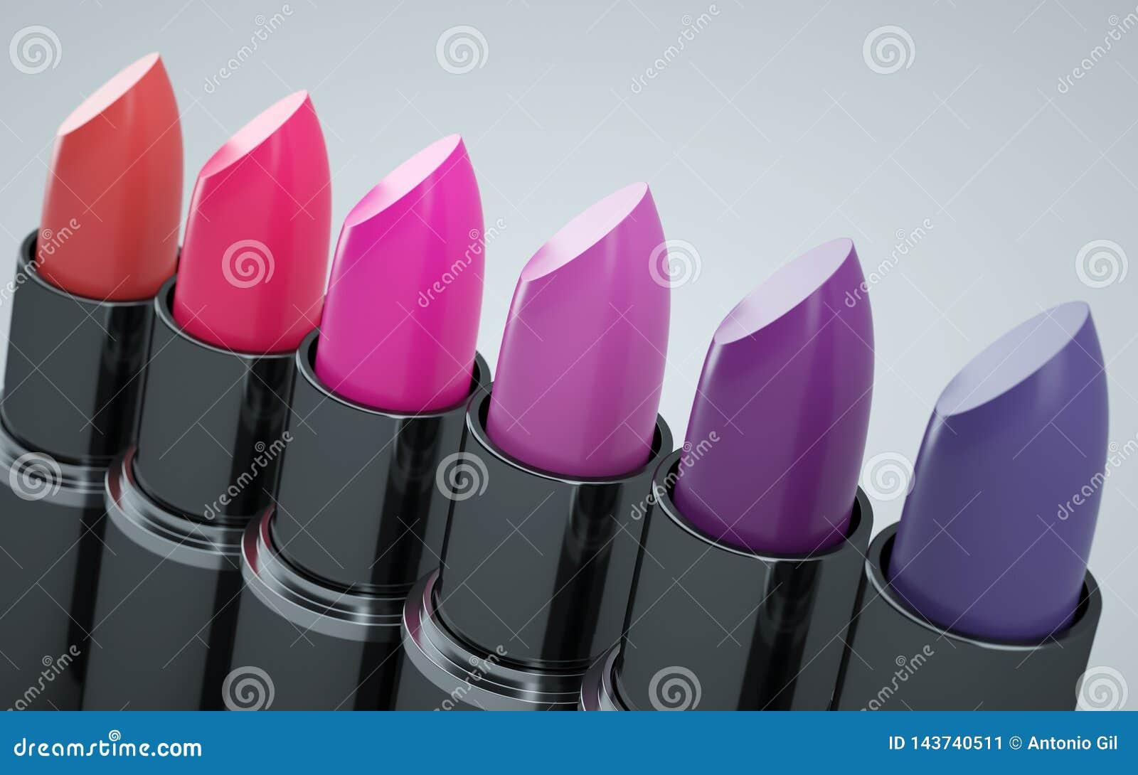 Разнообразная губная помада красная и фиолетовая