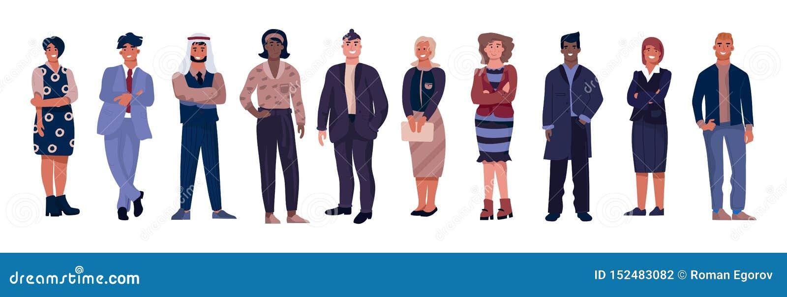 Разнообразные характеры дела Работники офиса с равными возможностями, многокультурная профессиональная команда Вектор корпоративн