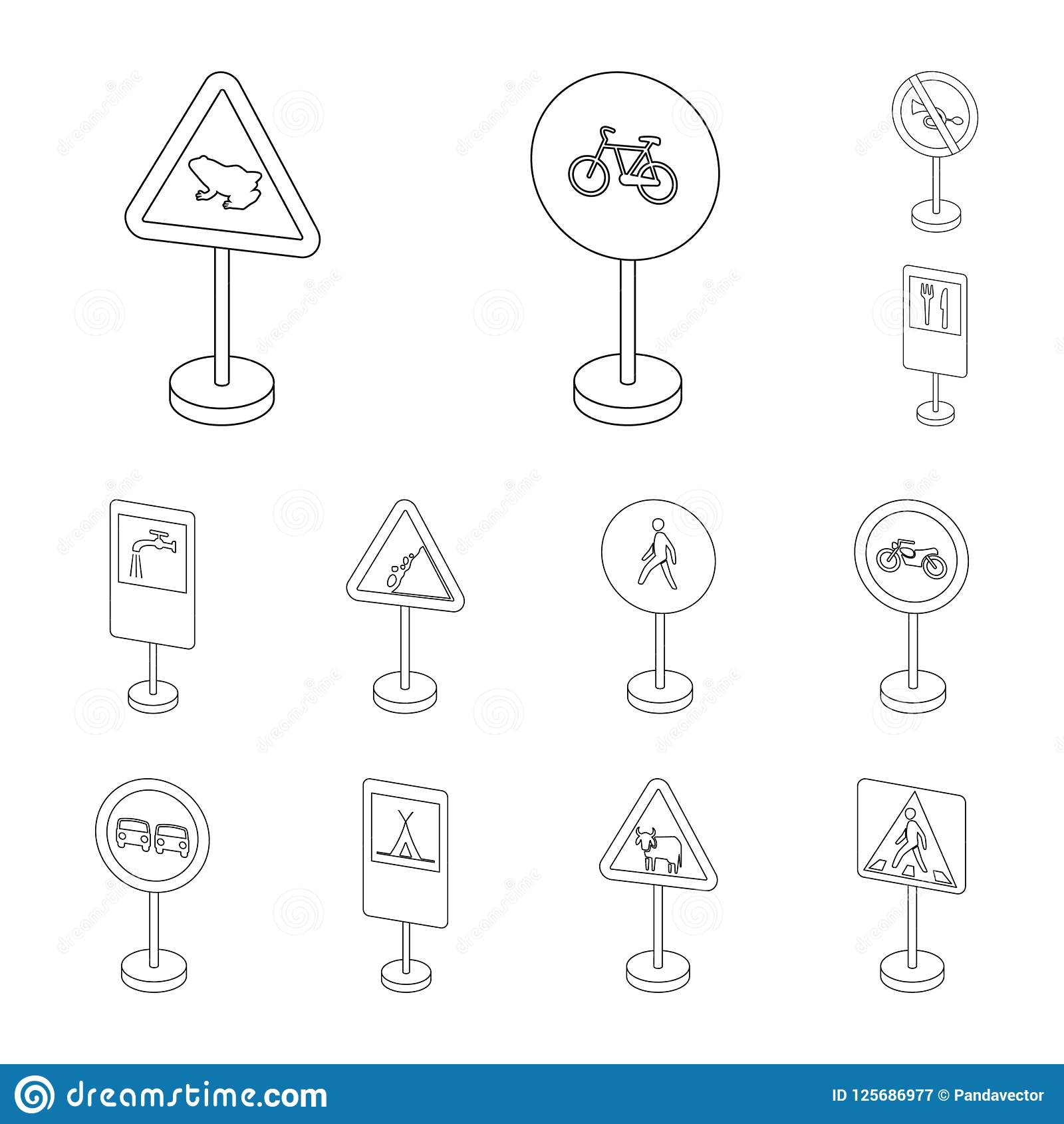 Разные виды дорожных знаков конспектируют значки в собрании комплекта для дизайна Символ вектора знаков предупреждения и запрета