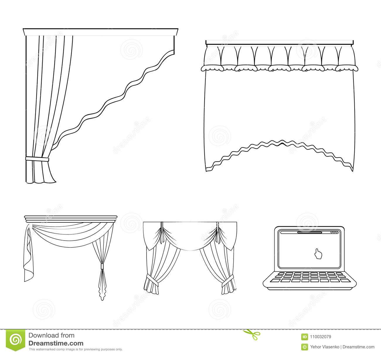 Разные виды занавесов окна Установленные занавесами значки собрания в плане вводят сеть в моду иллюстрации запаса символа вектора