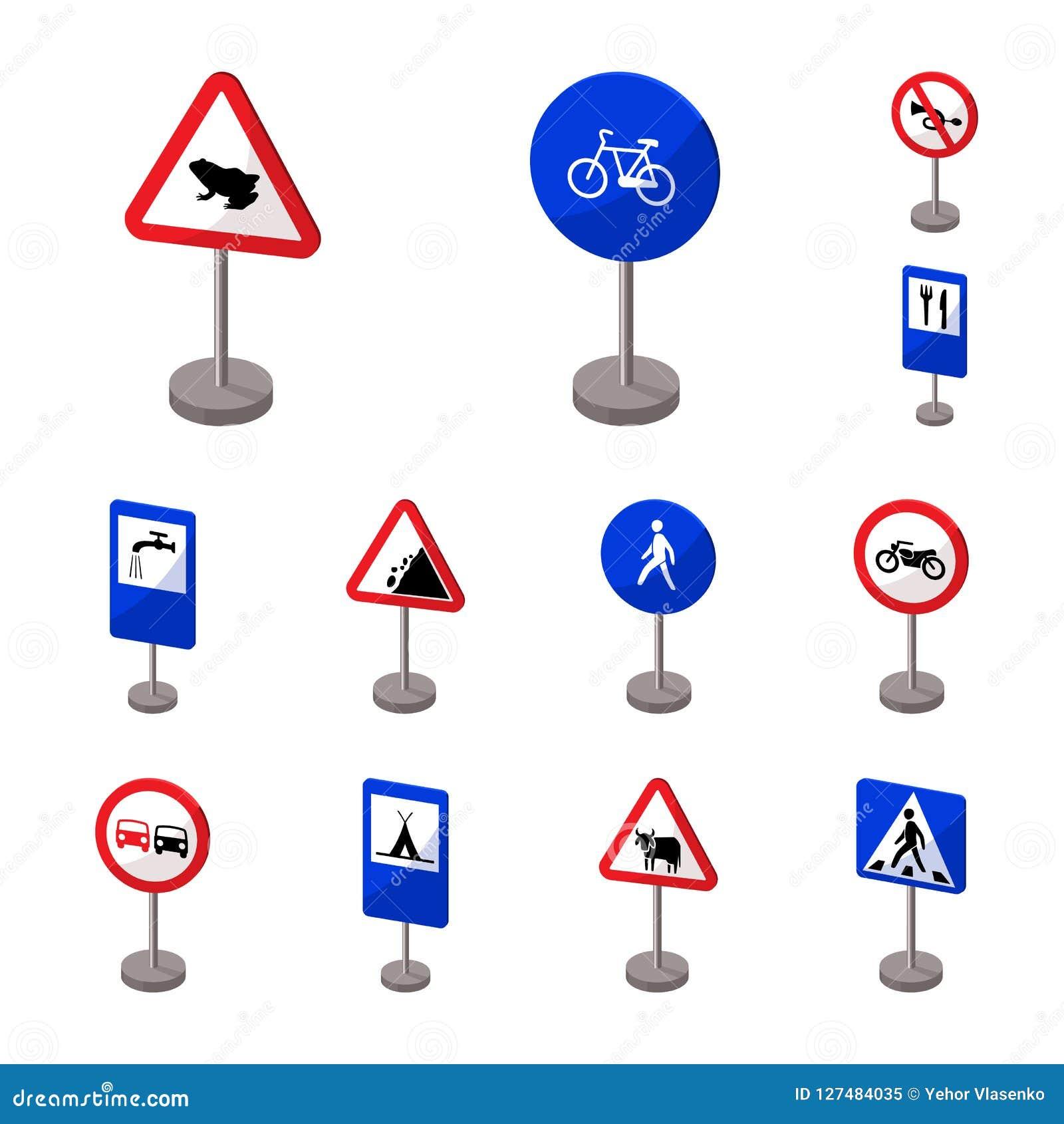 Разные виды значков шаржа дорожных знаков в собрании комплекта для дизайна Символ вектора знаков предупреждения и запрета