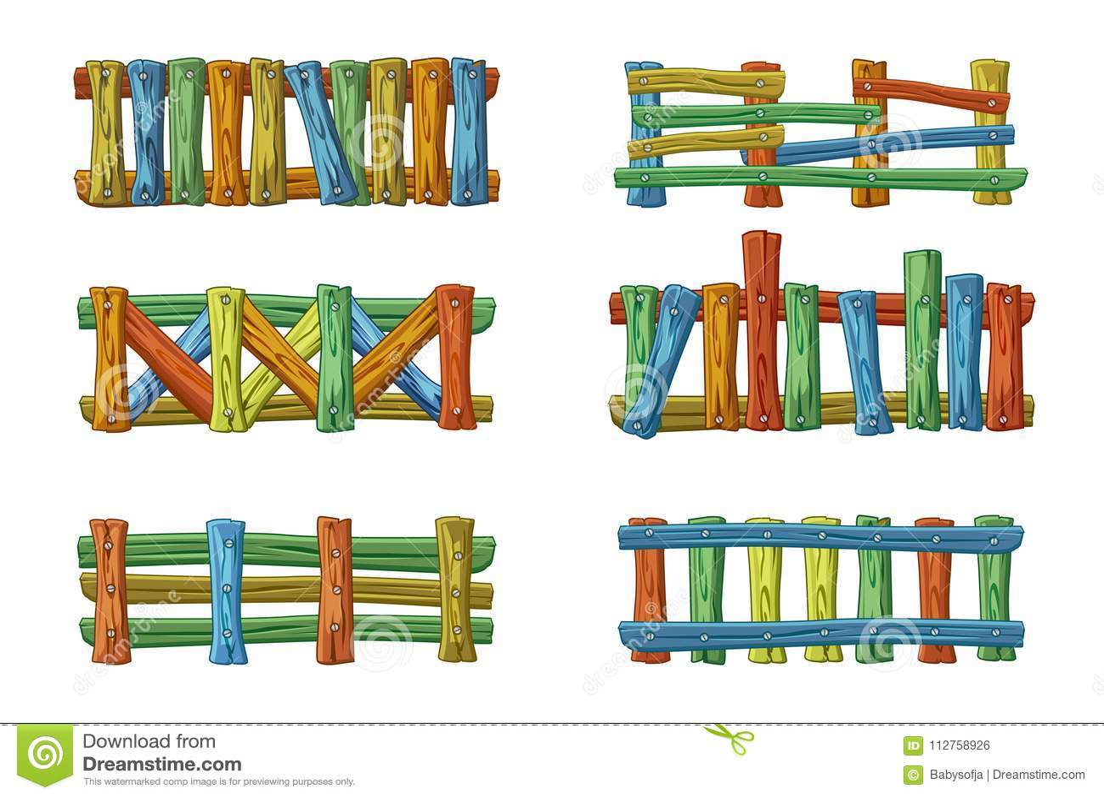 Разные виды и цвета деревянной загородки, шаржа установили для имущества