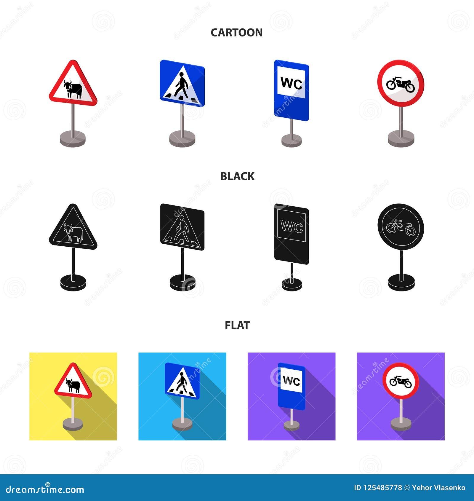 Разные виды шаржа дорожных знаков, черноты, плоских значков в собрании комплекта для дизайна Знаки предупреждения и запрета
