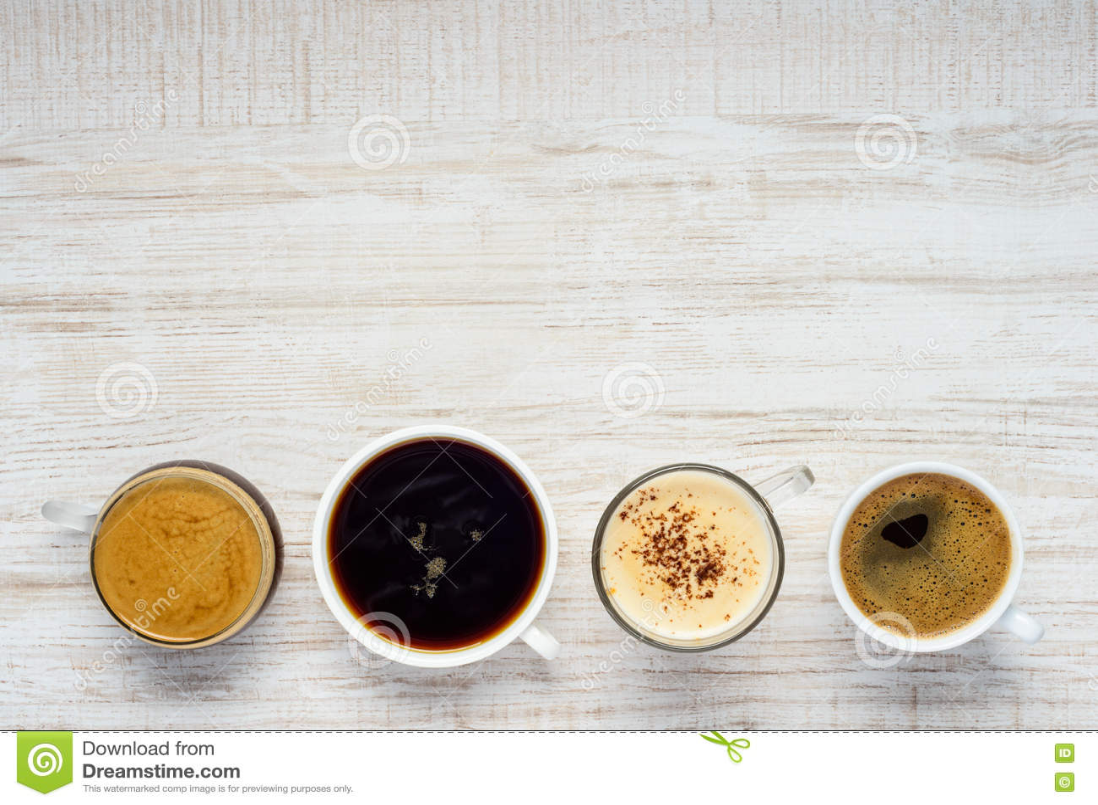 Разные виды кофе с космосом экземпляра