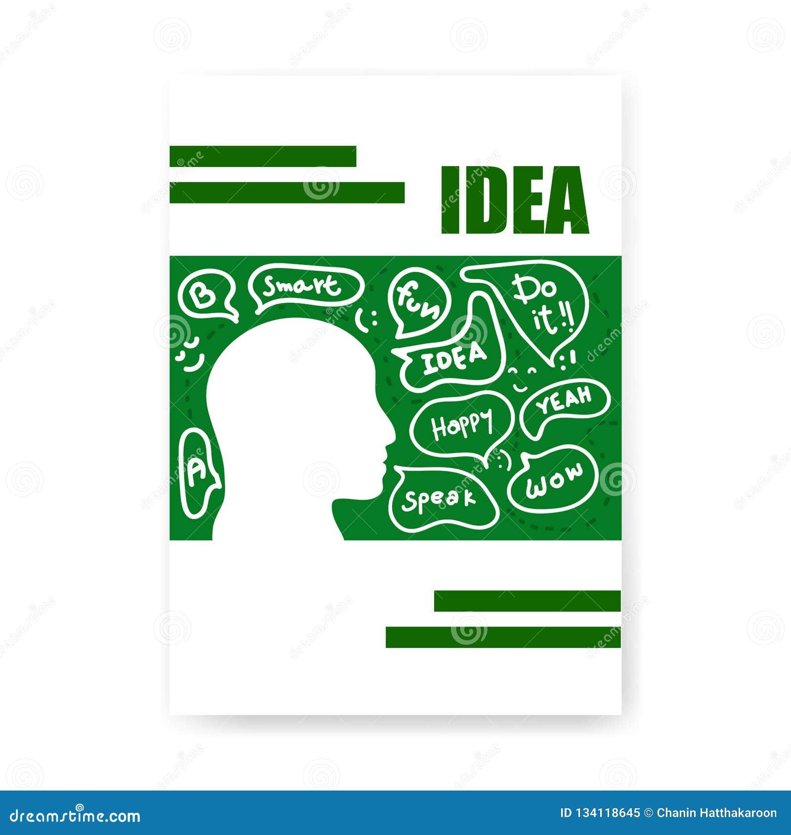 Разум тетради крышки думая плоский стиль, предпосылку концепции сообщения речи руки эскиза вычерченную, иллюстрацию вектора, диза