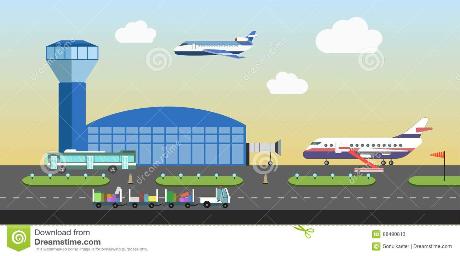 Район взлётно-посадочная дорожка здания и самолета авиапорта vector плоский дизайн