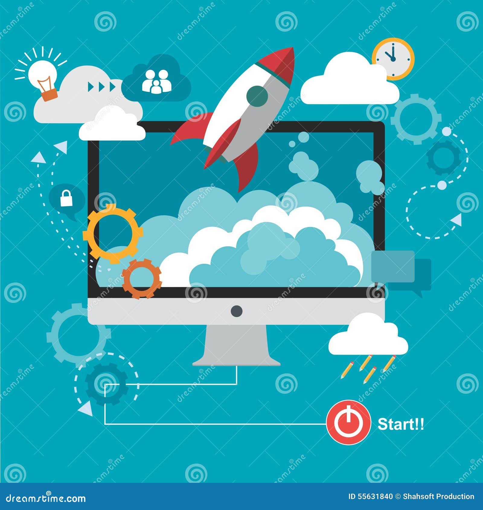 Ракета и облако с компьютером