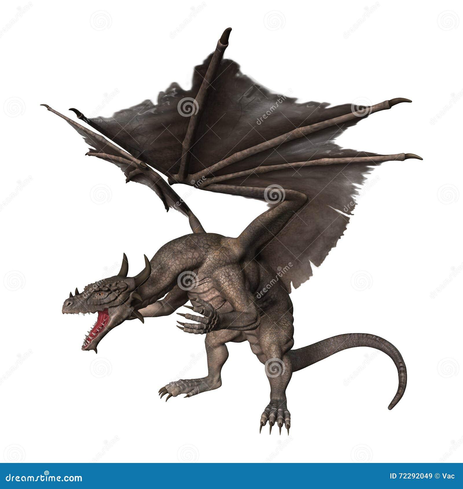 дракон фантазии перевода 3D на белизне