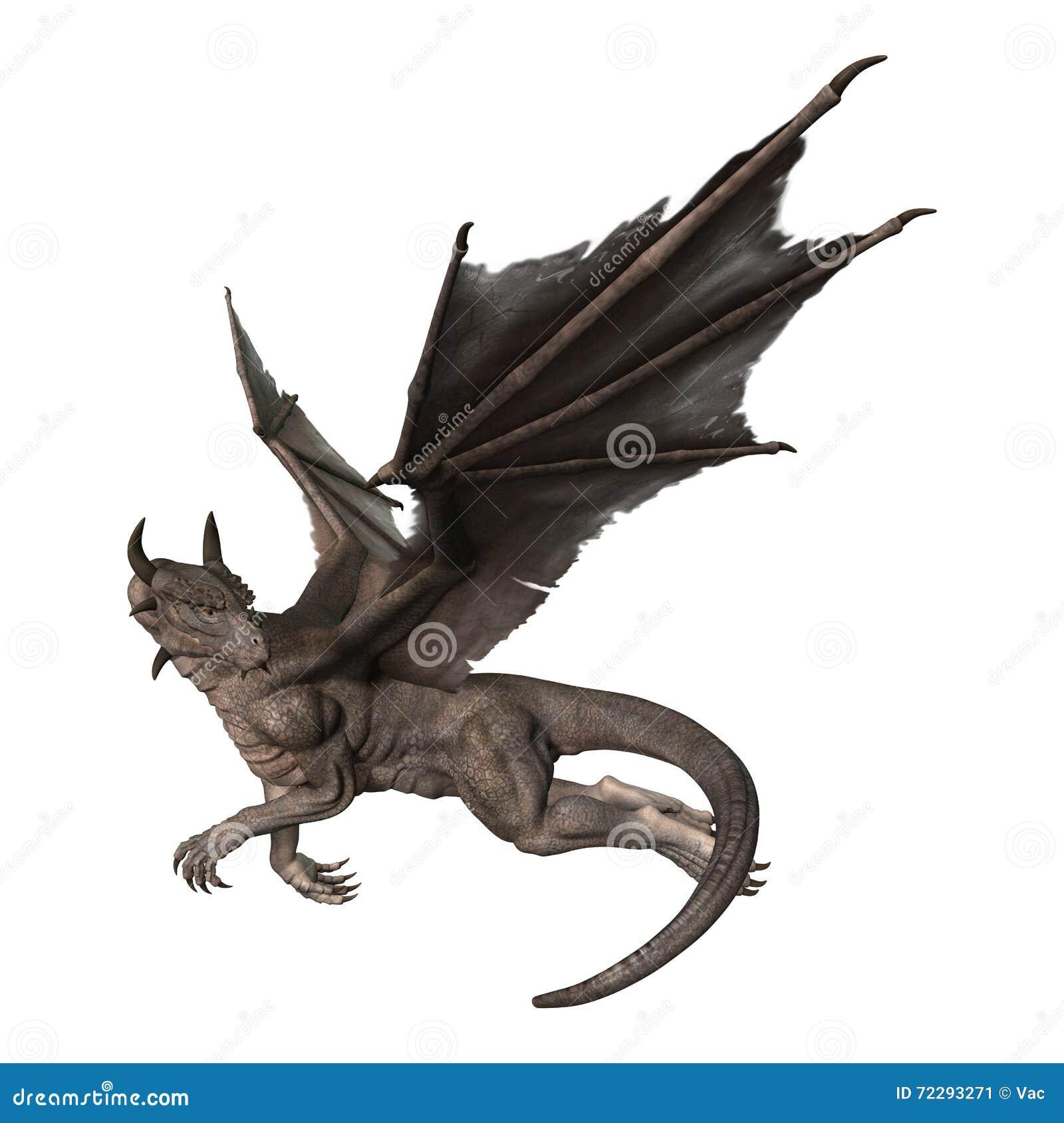 Download дракон фантазии перевода 3D на белизне Иллюстрация штока - иллюстрации насчитывающей зло, тварь: 72293271