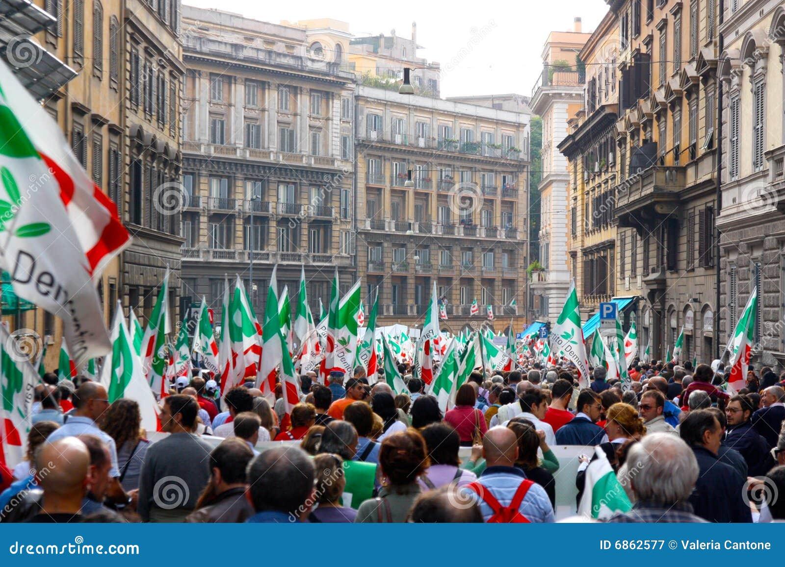 ралли rome pd Демократической партии