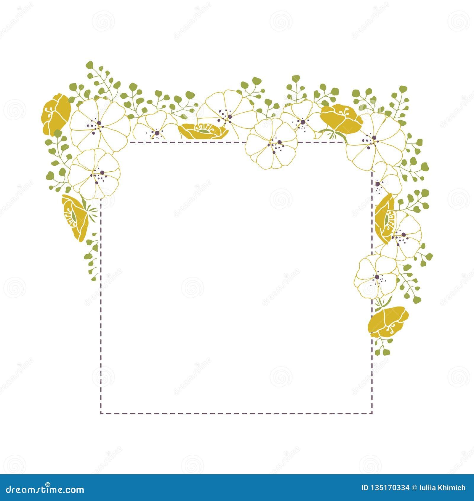 Рамка вектора флористической нарисованная рукой Цветки и листья в квадратном расположении