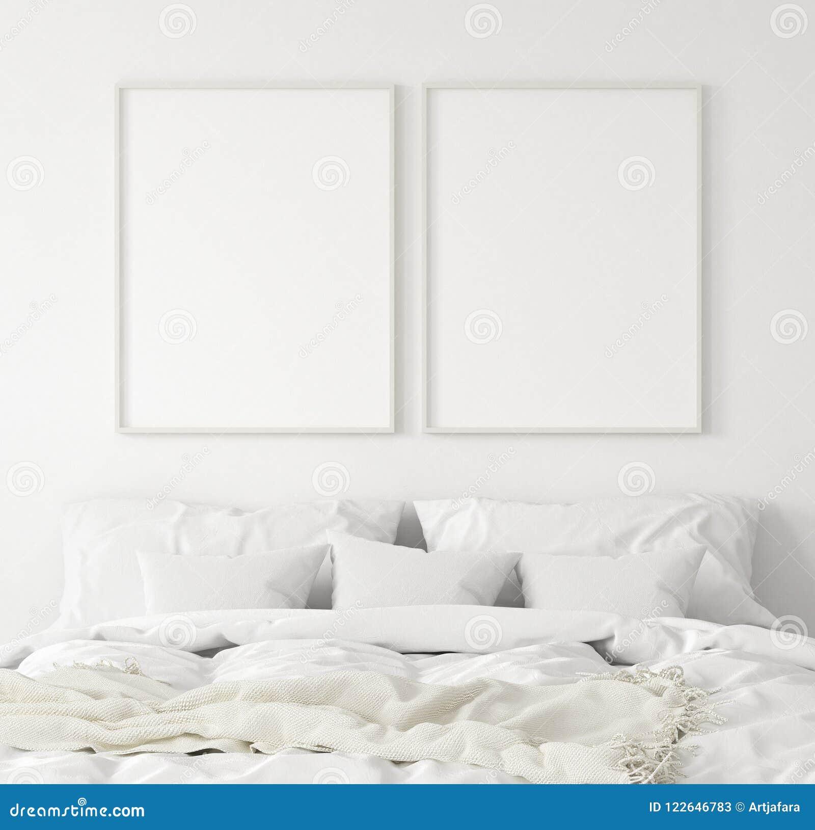 Рамка в спальне, скандинавский стиль плаката модель-макета