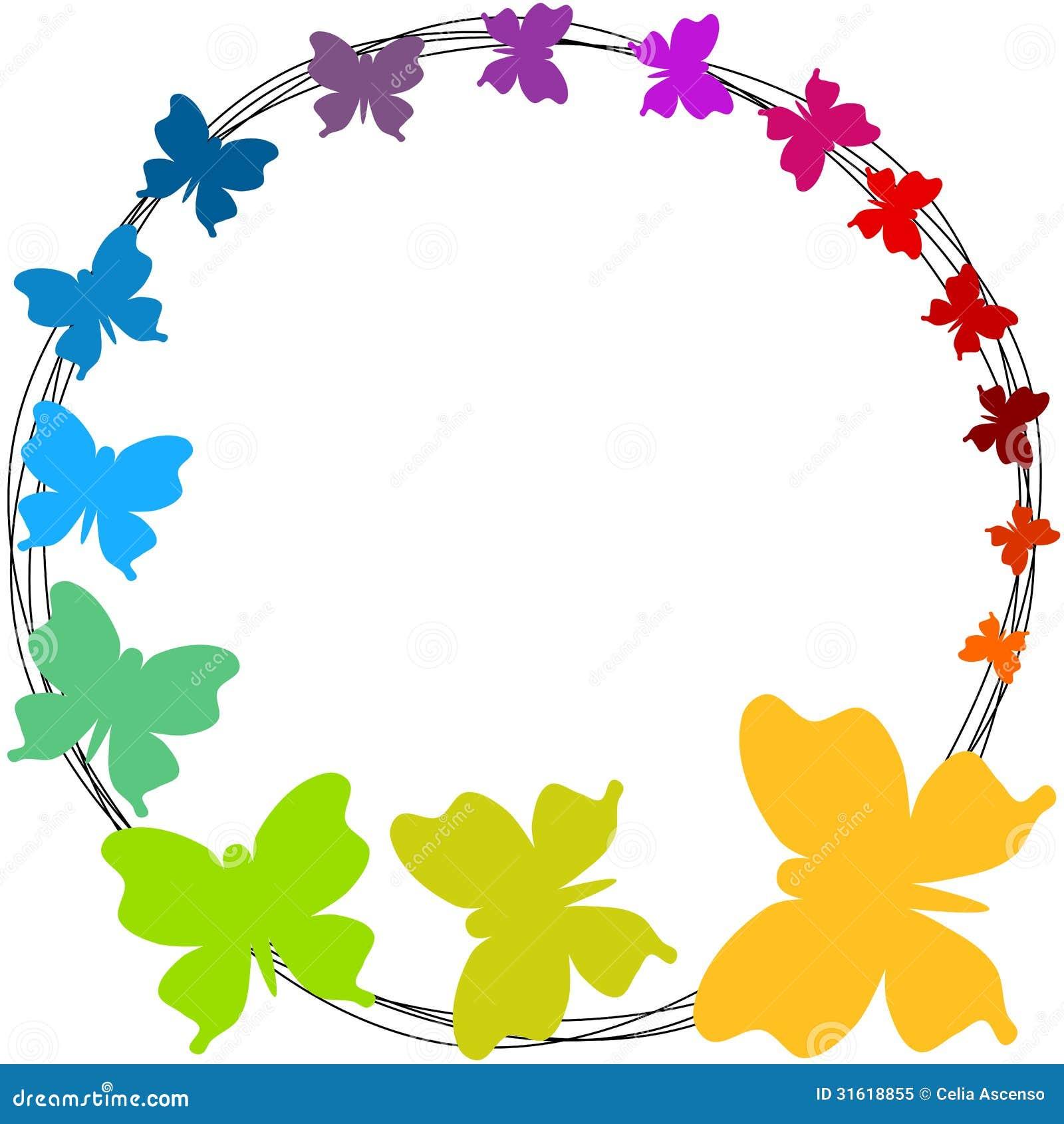 Рамка границы бабочек радуги круглая