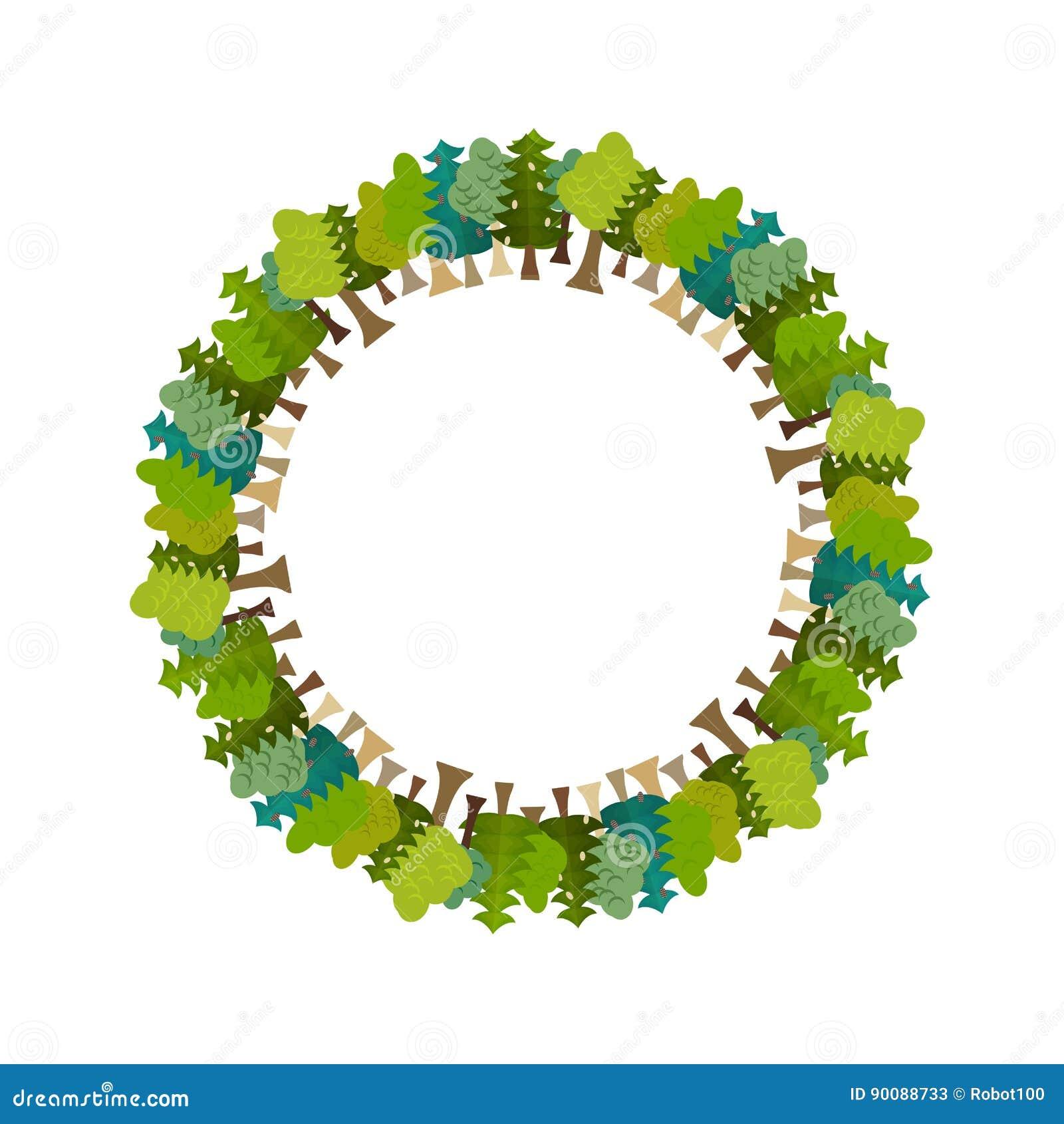 Рамка дерево круглое солнечний свет дуба пущи конструкции граници предпосылки осени жолудей Фон природы