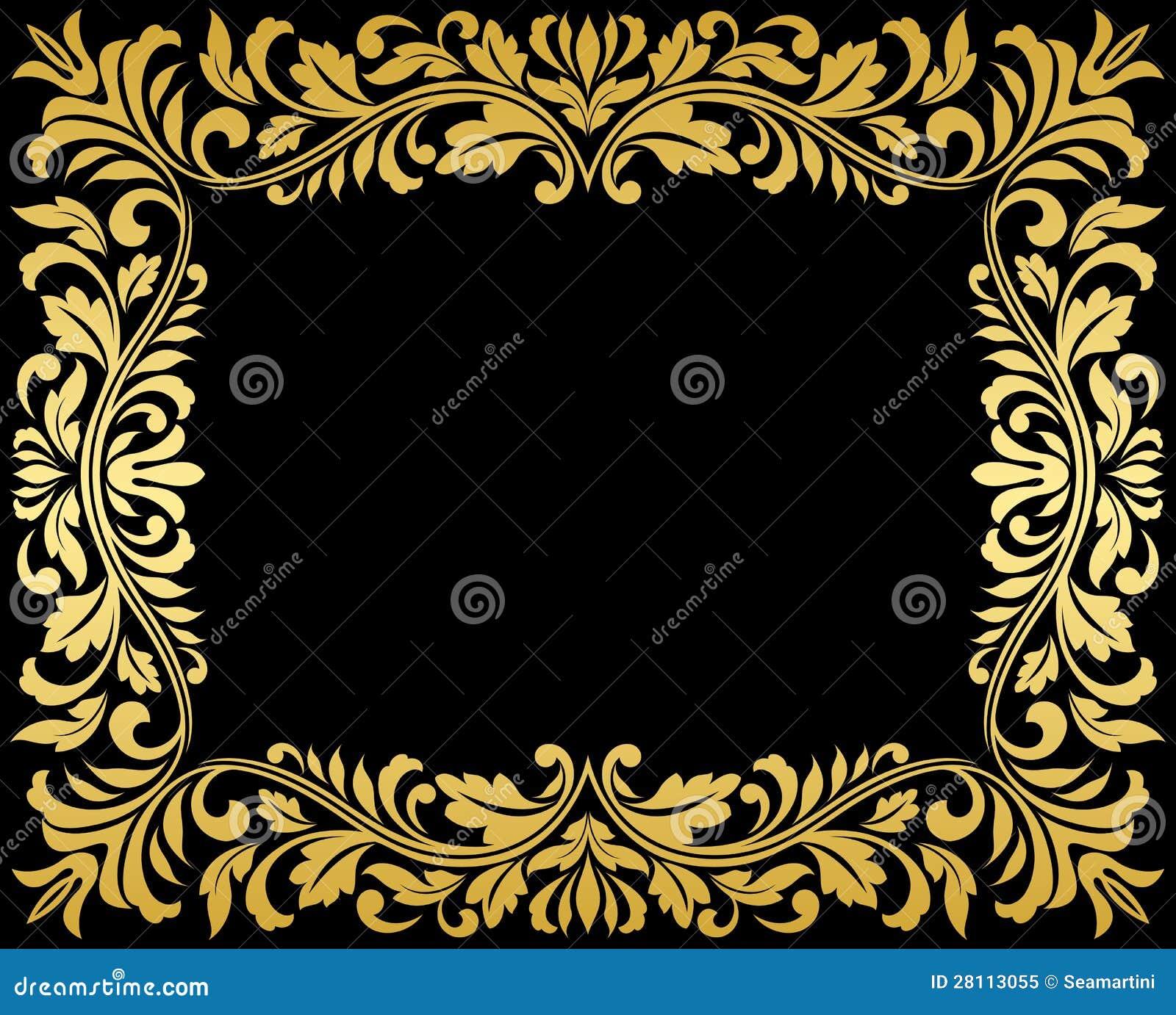 Рамка золота год сбора винограда с флористическим