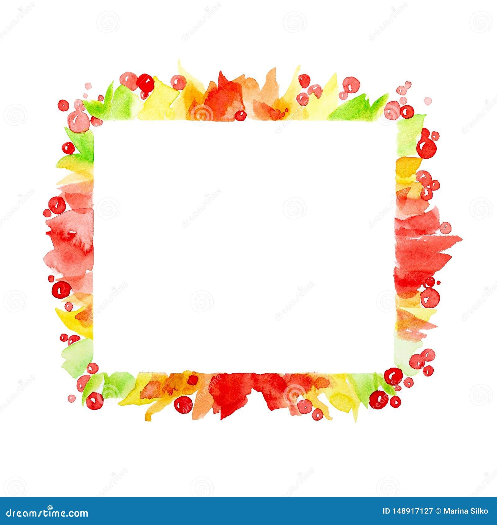 Рамка конспекта красочная квадратная ягод и красочные листья o