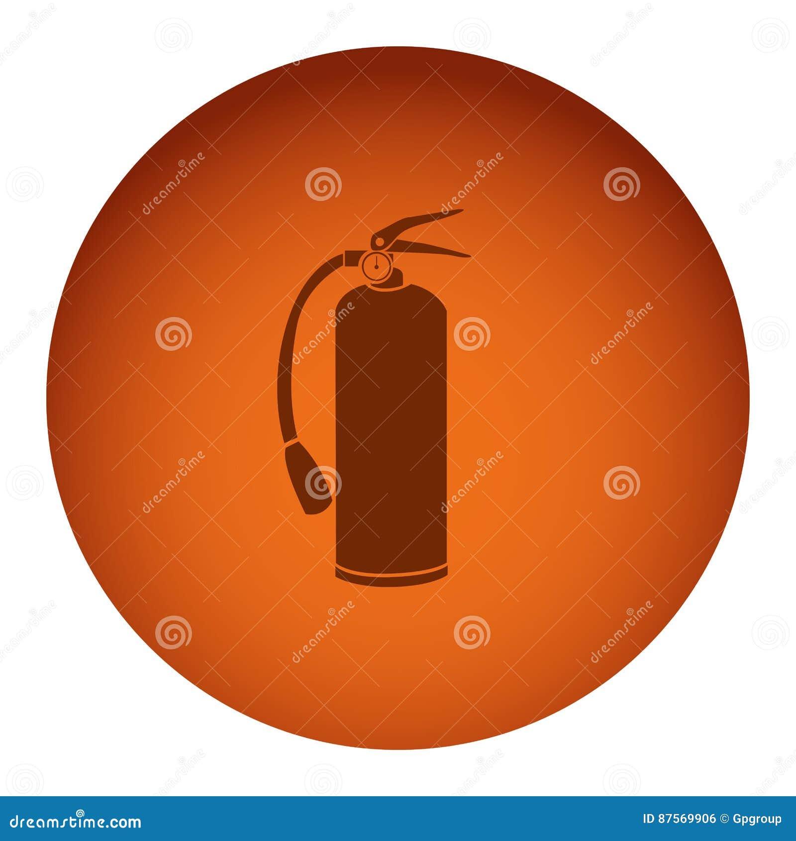 рамка оранжевого цвета круговая с значком огнетушителя силуэта