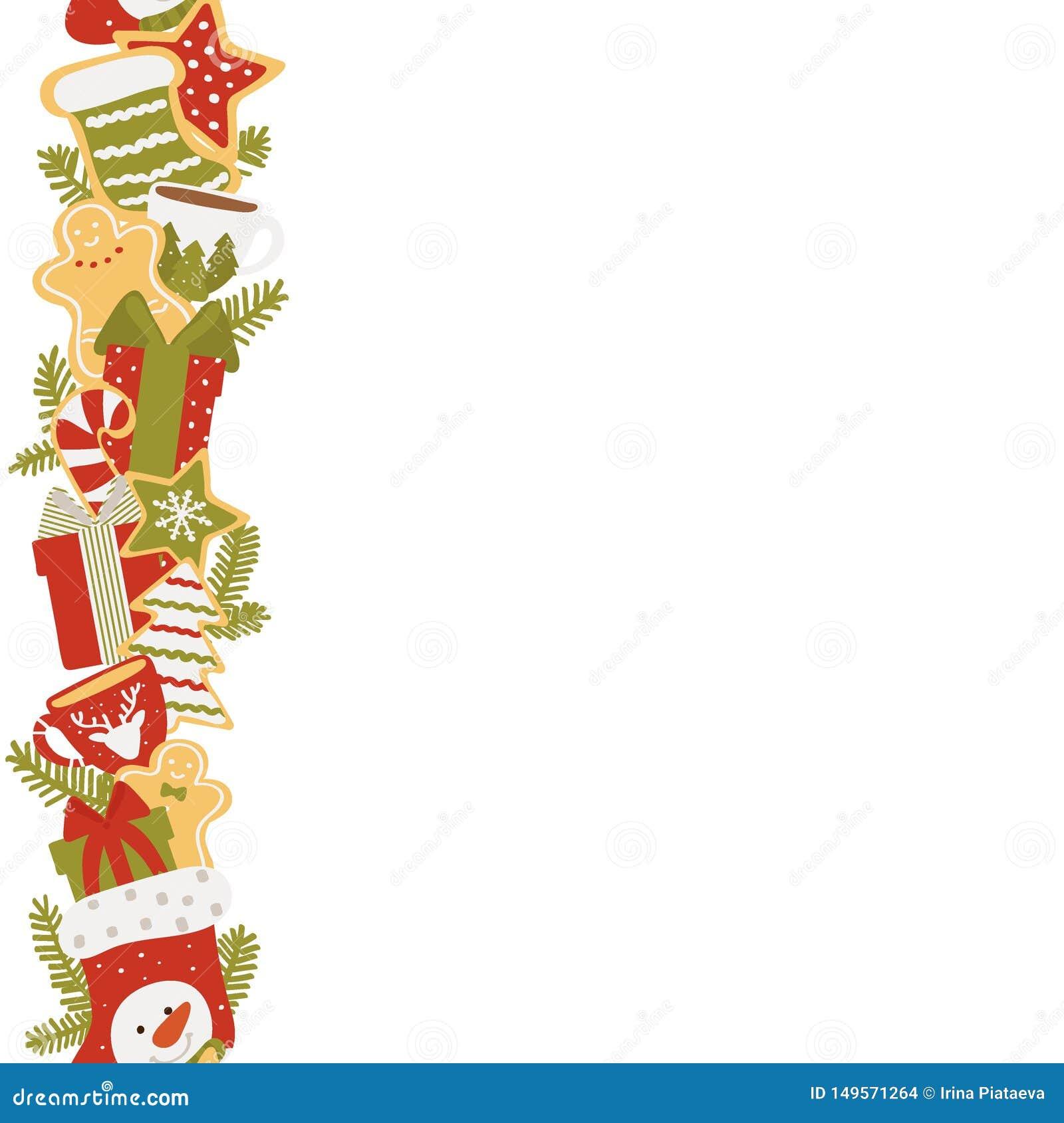 Рамка рождества вертикальная подарков и помадок изолированных на белой предпосылке Иллюстрация вектора в нарисованной руке