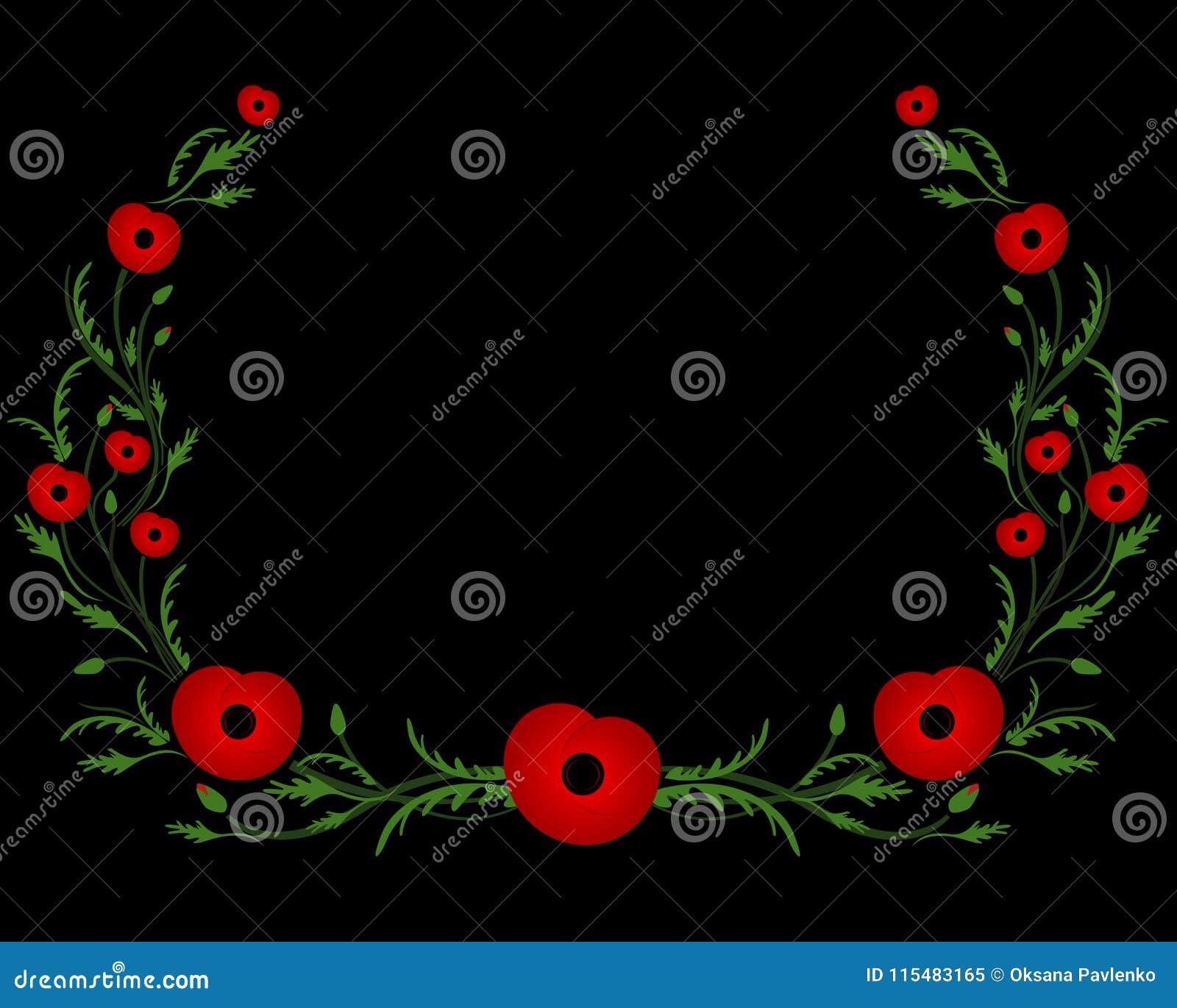 Рамка с красным маком Вторая Мировая Война, коммеморативный символ
