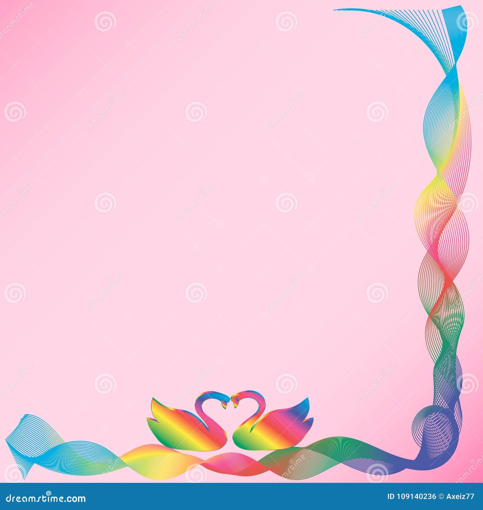 Рамка с лебедями на розовой предпосылке