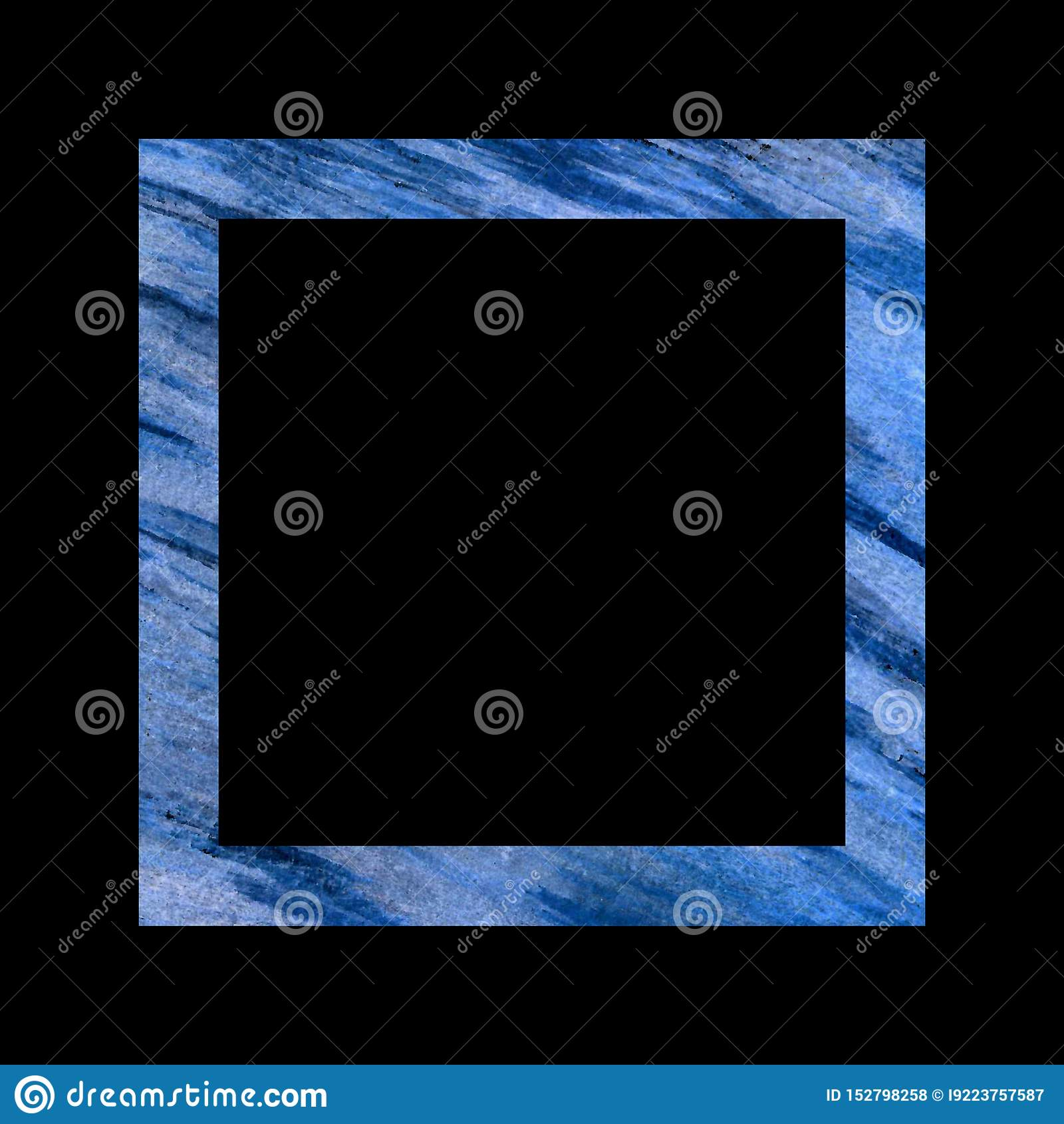 Рамка текстурированная синью квадратная на черной предпосылке, большие раскосные самопроизвольно ходы