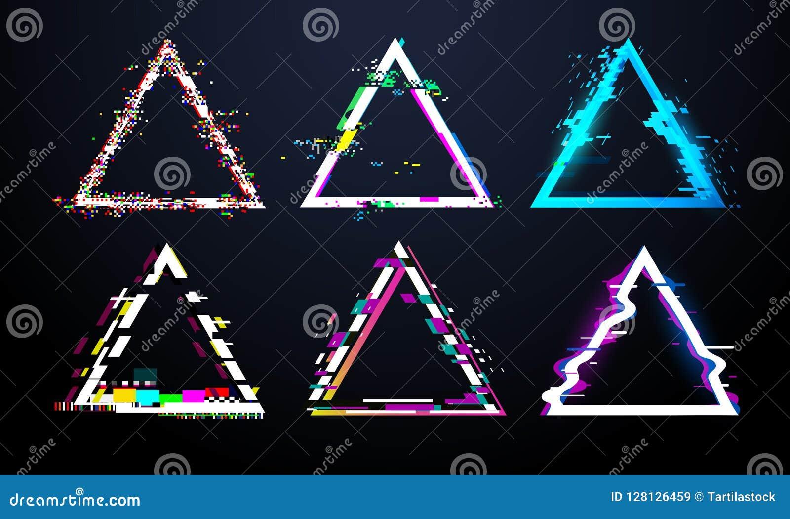 Рамка треугольника небольшого затруднения Передернутый экран ТВ, влияния черепашки света рванины на дефекте glitched треугольники